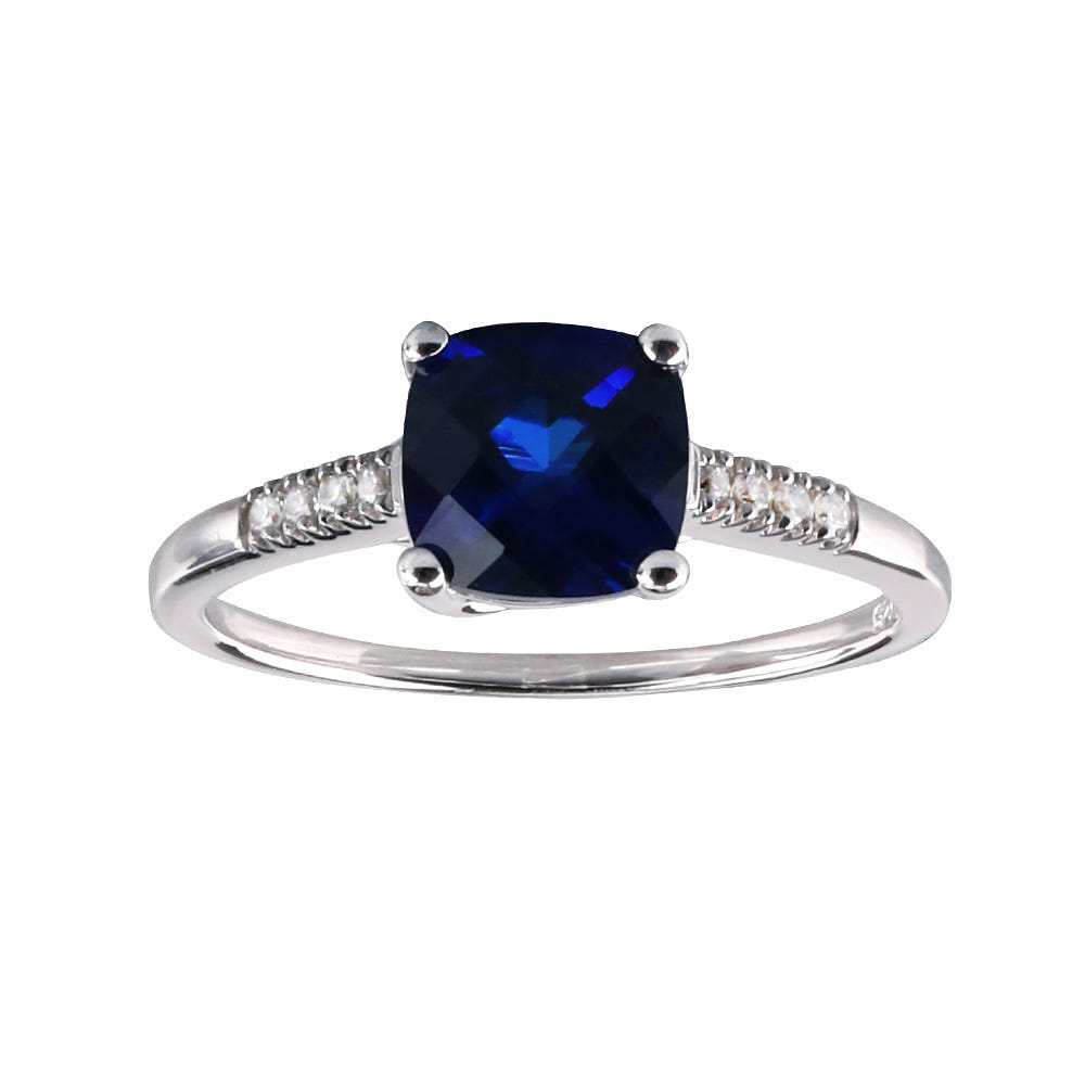 Cushion-Cut Created Sapphire and Diamond Ring in 10k White Gold