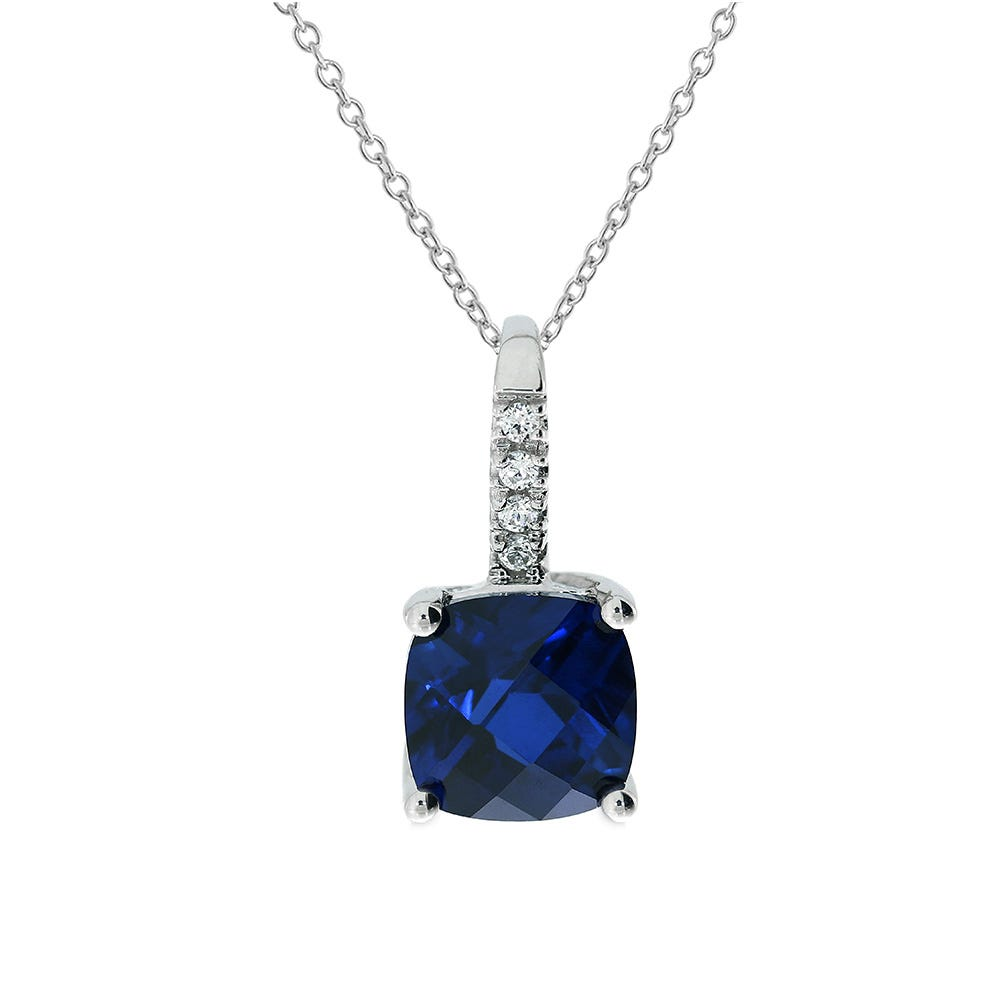 Cushion-Cut Created Sapphire and Diamond Pendant in 10k White Gold