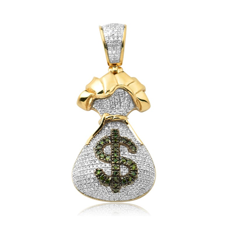 Men's Money Bag Green & White Diamond Pendant 3/4ctw in 10k Yellow Gold