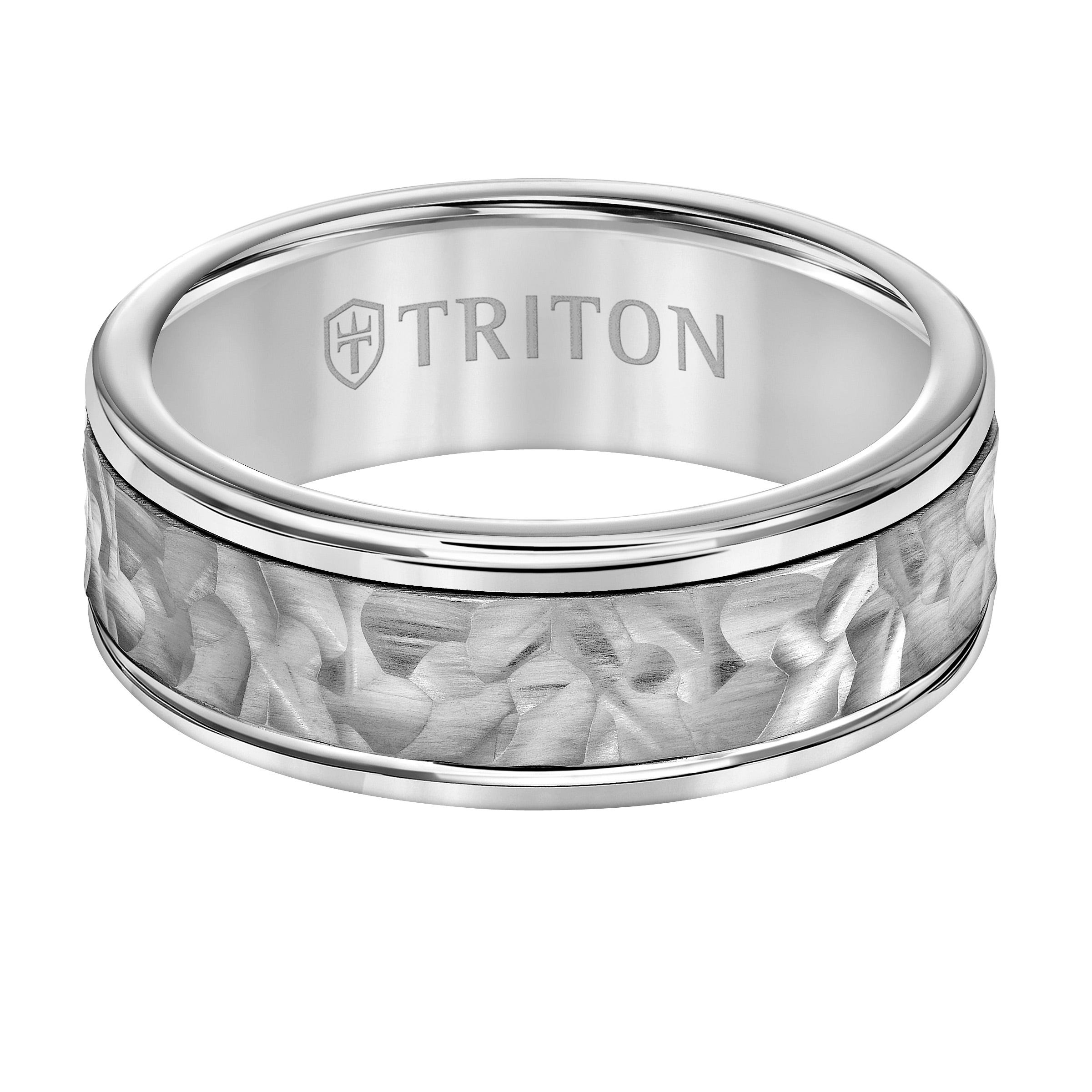 Triton Men's 8mm Grey Tungsten Carbide and 14k White Gold Hammered Center Wedding Band