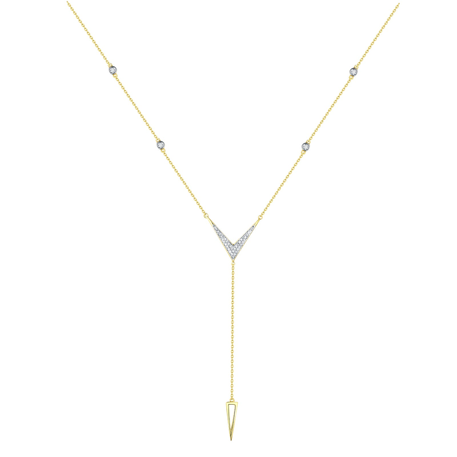 Diamond Open Long Y-Neck Fashion Necklace in 14k Yellow Gold