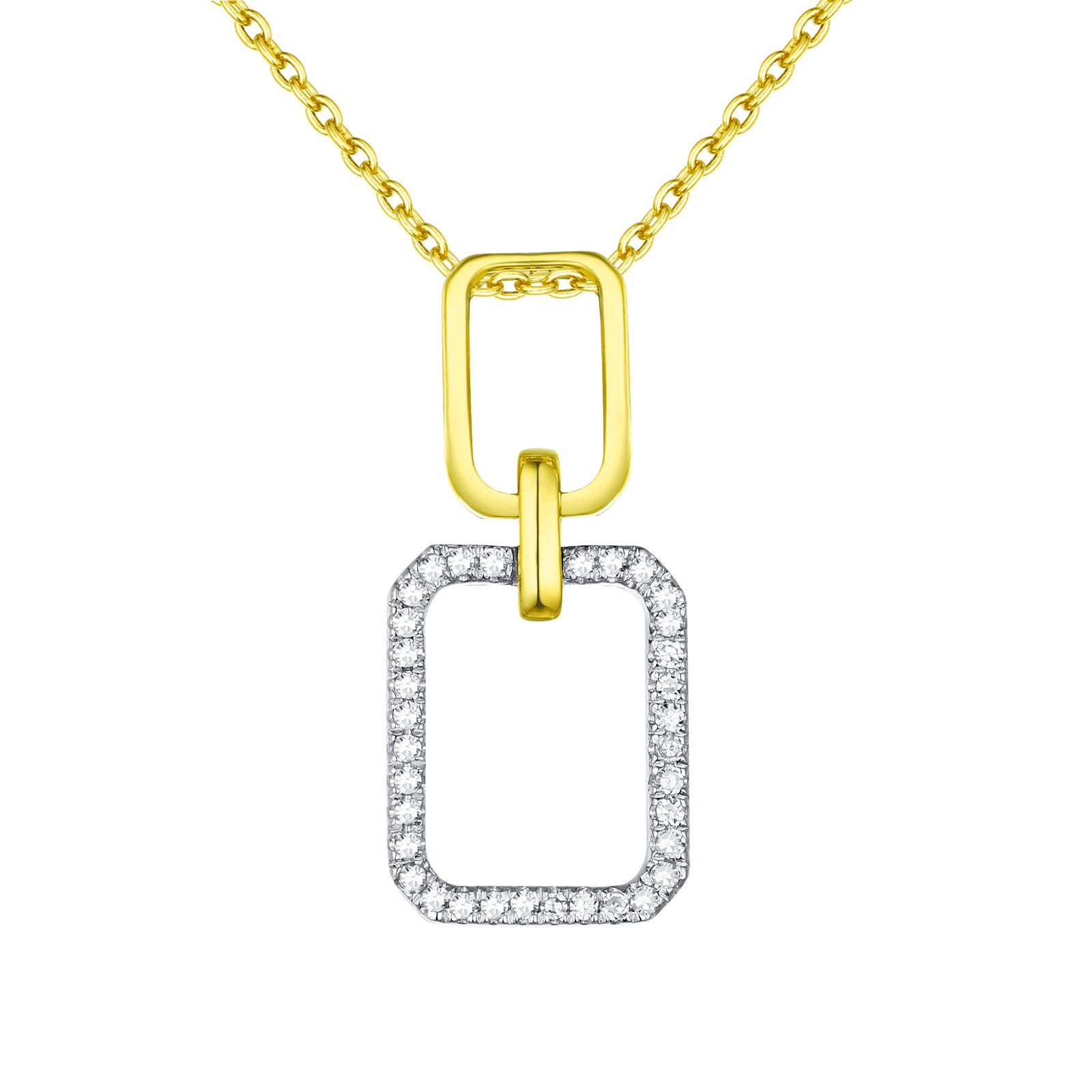 Diamond Double Rectangle Pendant in 14k White & Yellow Gold