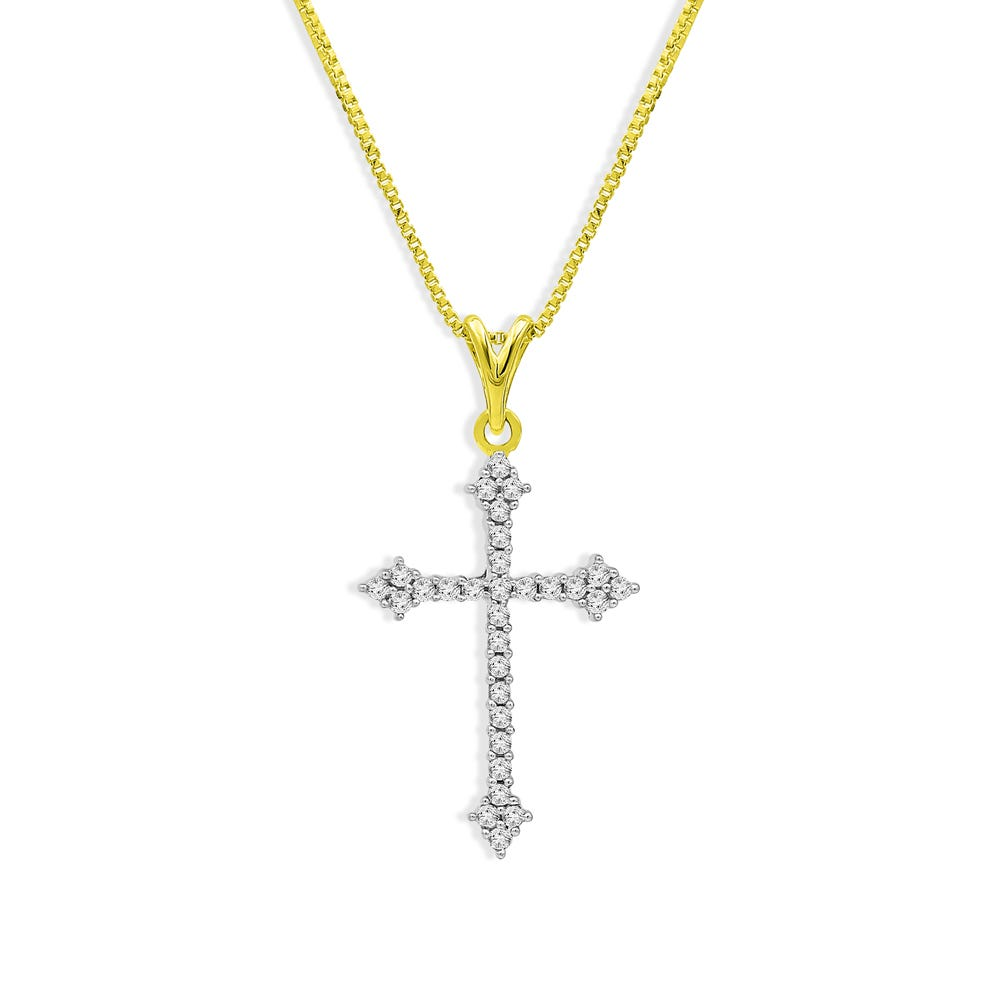 Cross Diamond Pendant Necklace in 10k Gold