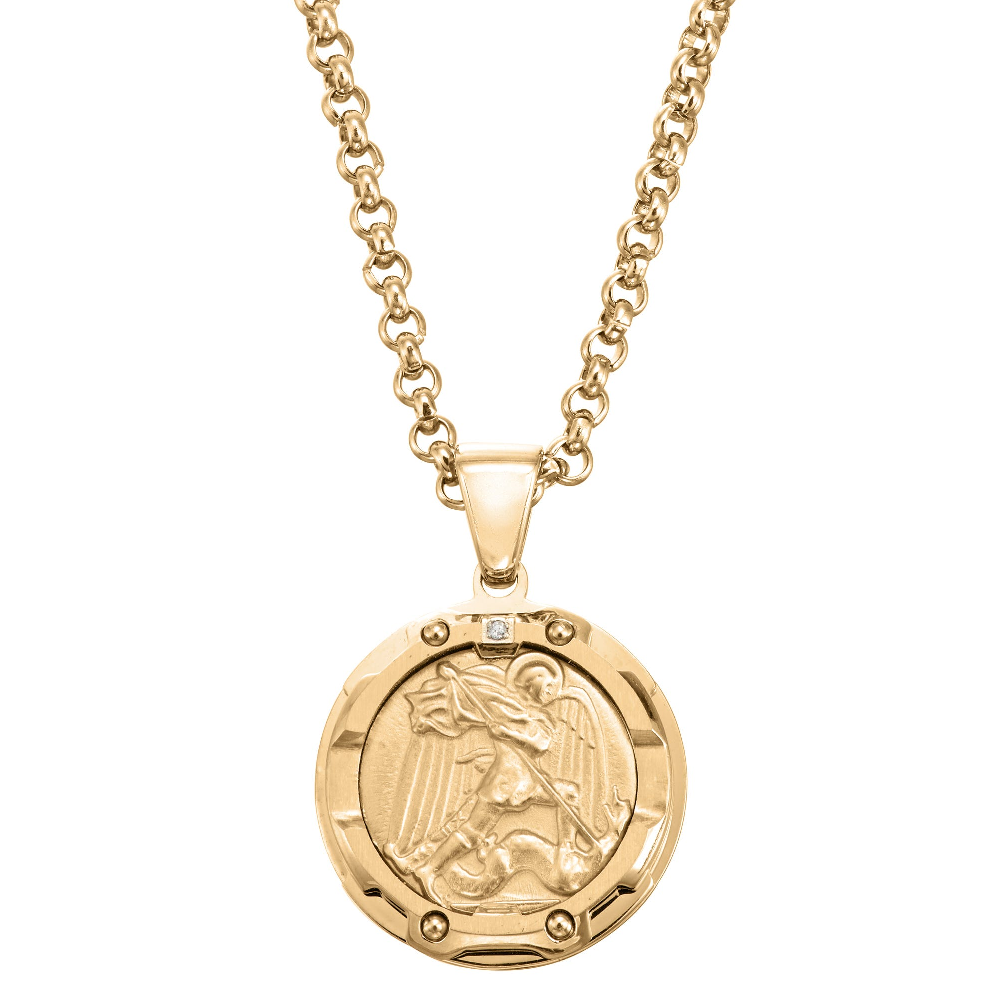 Men's Saint Christopher Protect Us Pendant in Stainless Steel
