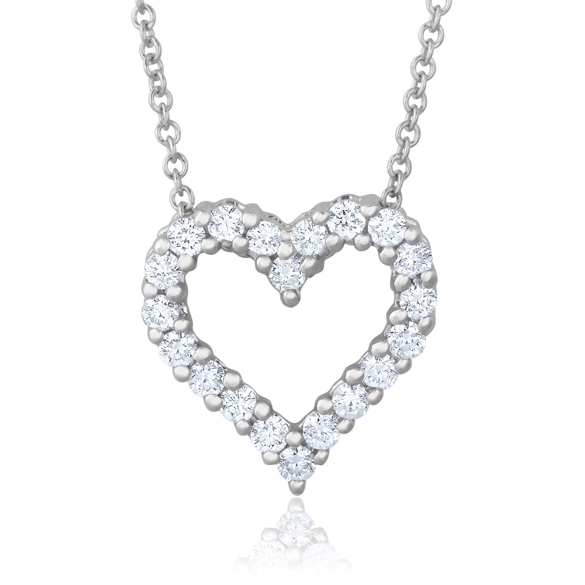 Diamond Heart Pendant 1/2ctw in 14k White Gold