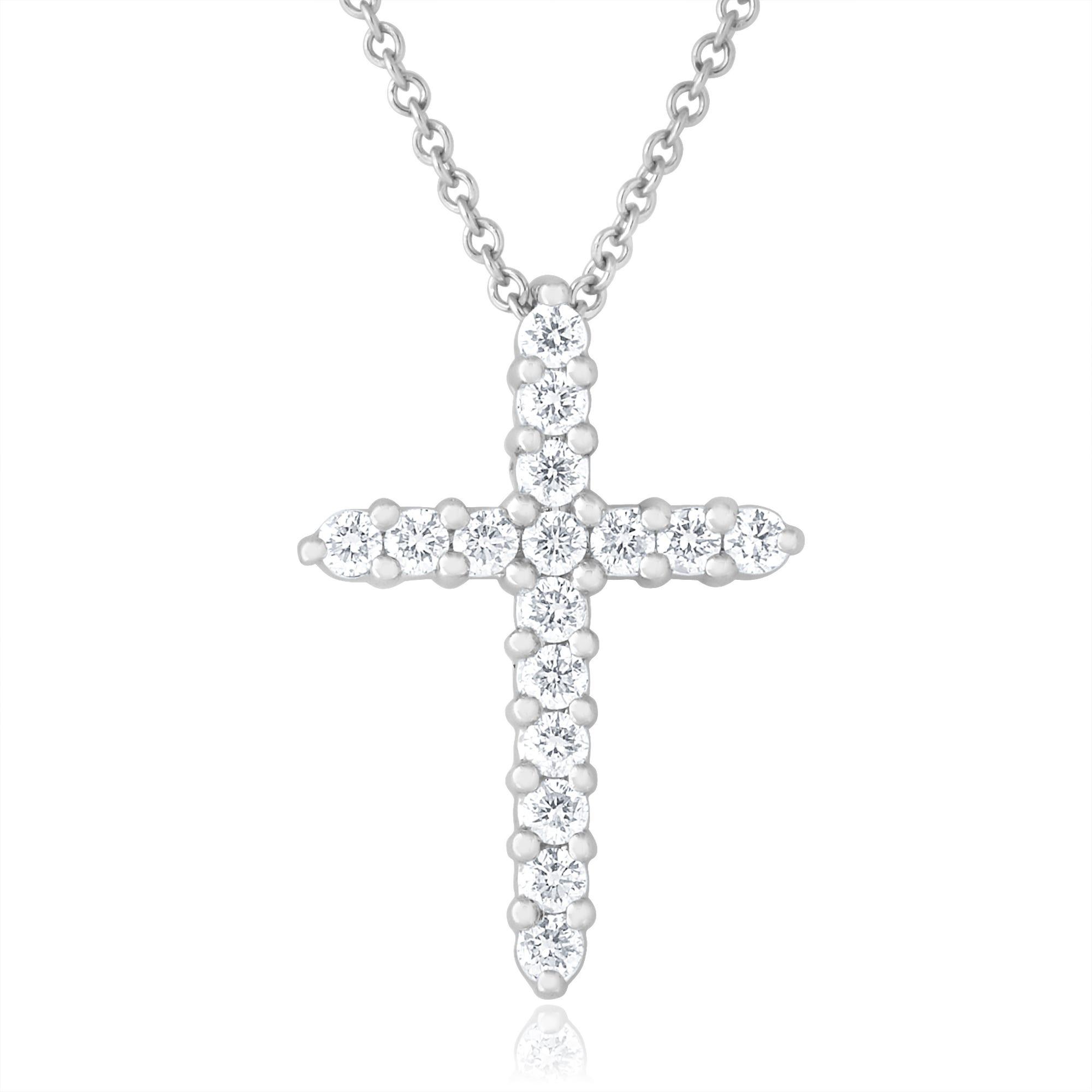 Diamond Cross Pendant 1/4ctw in 14k White Gold