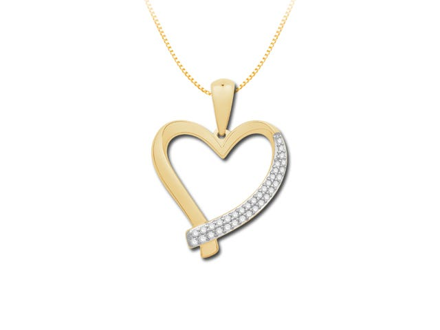 Double Row Diamond Pendant 1/6ctw in 10k White and Yellow Gold