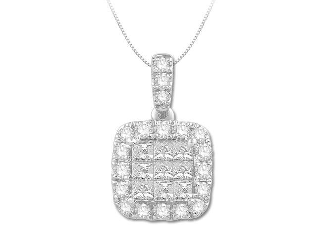 Diamond Princess-Cut Cluster Halo Pendant 3/4ctw in 14k White Gold