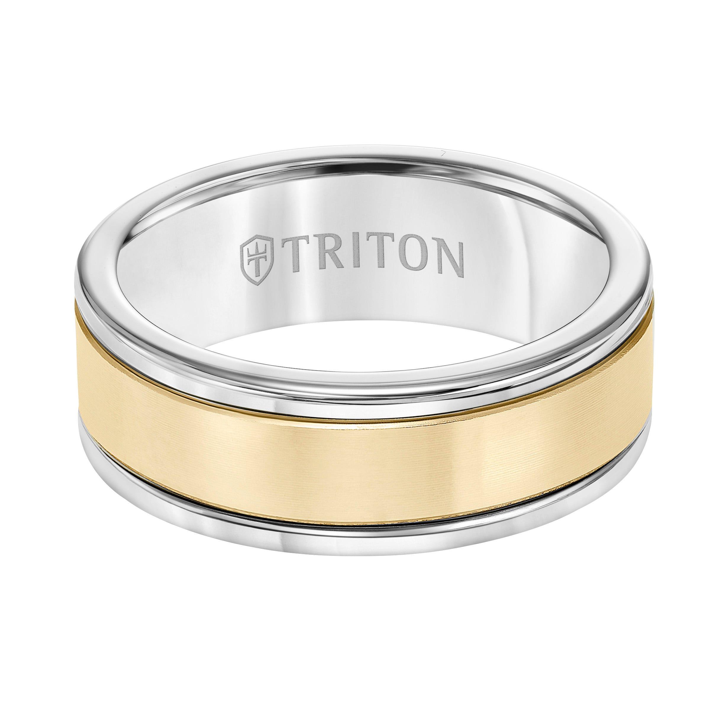 Triton Men's 8mm Grey Tungsten Carbide and 14k Yellow Gold Matte Finish Center Wedding Band