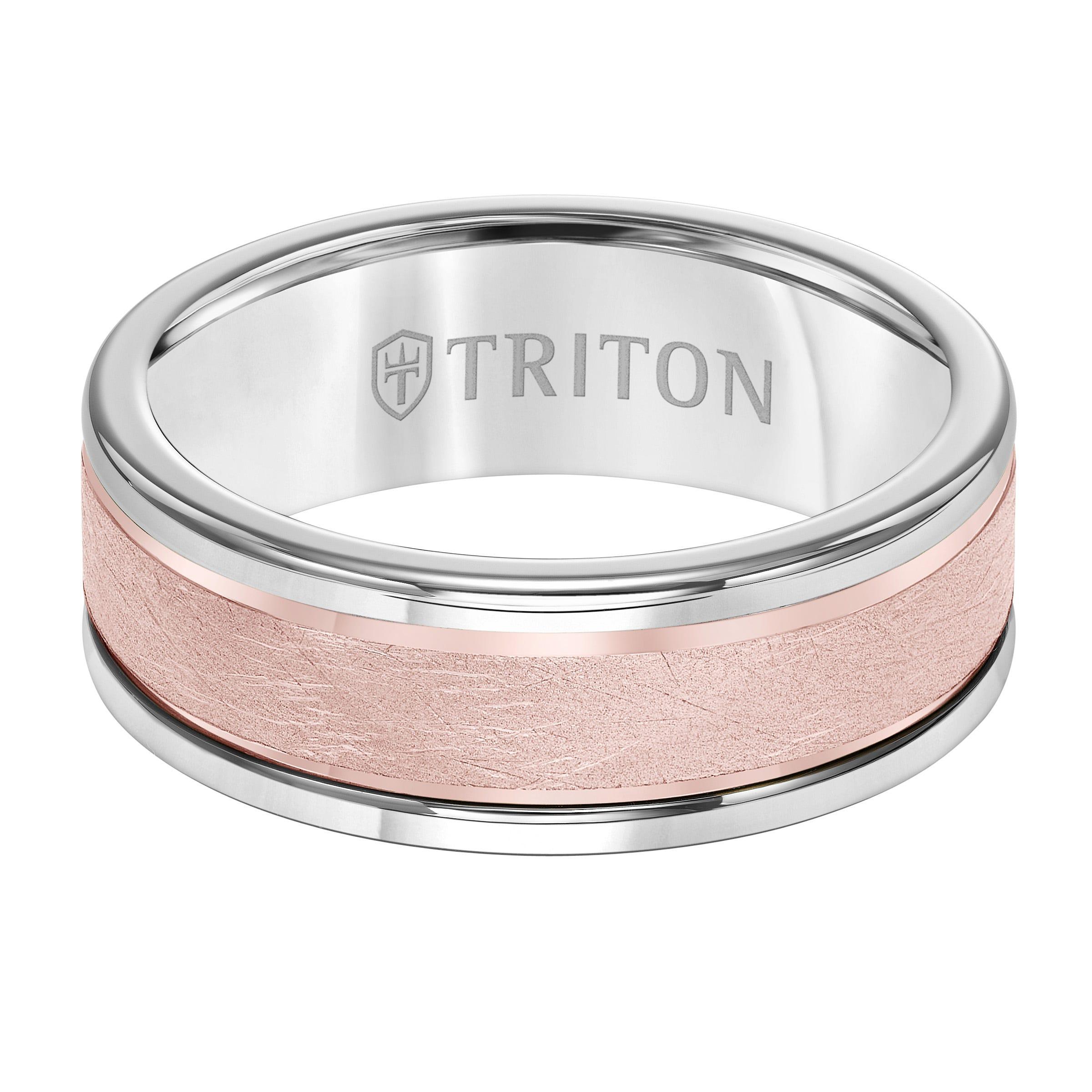 Triton Men's 8mm Grey Tungsten Carbide and Raised 14k Rose Gold Matte Finish Wedding Band
