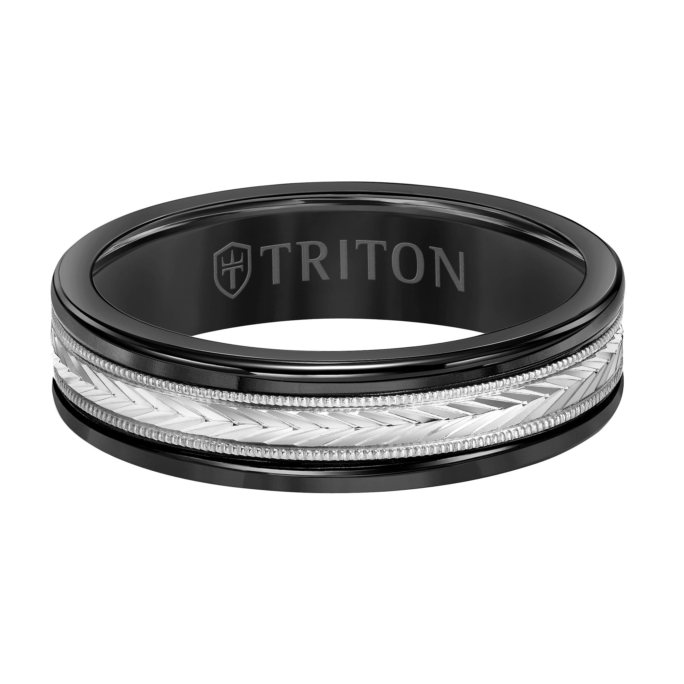 Triton Men's 6mm Black Tungsten Carbide and 14k White Gold Patterned Inlay Wedding Band