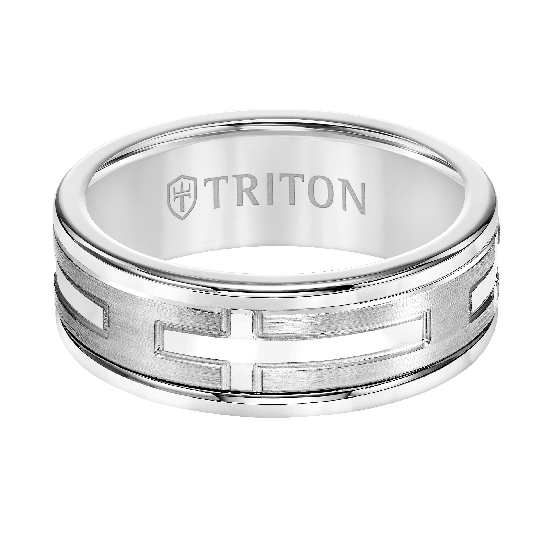 Triton Men's 8mm Cross Center White Tungsten Carbide & 14k White Gold Band