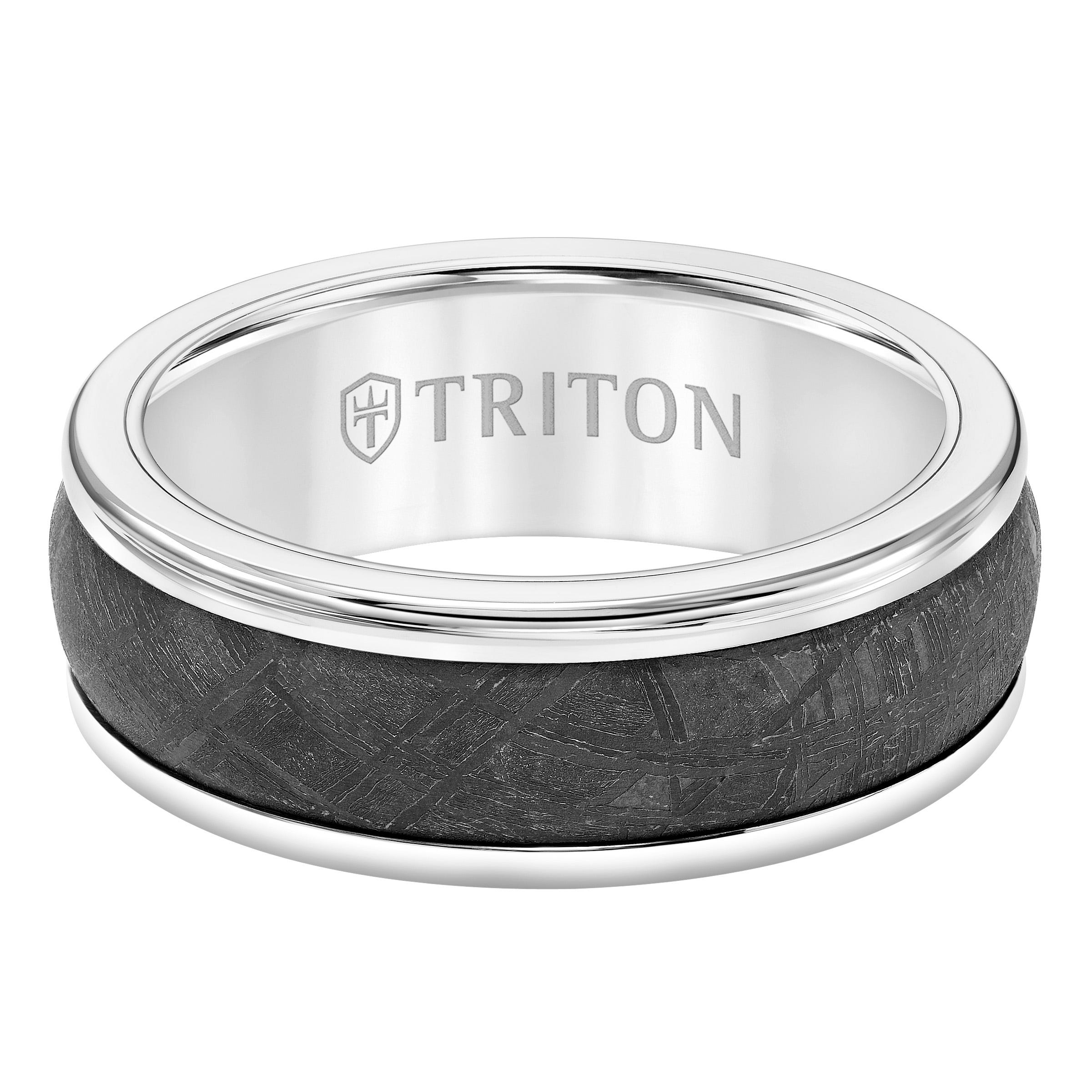 Triton Men's 8mm Meteorite & White Tungsten Carbide Band