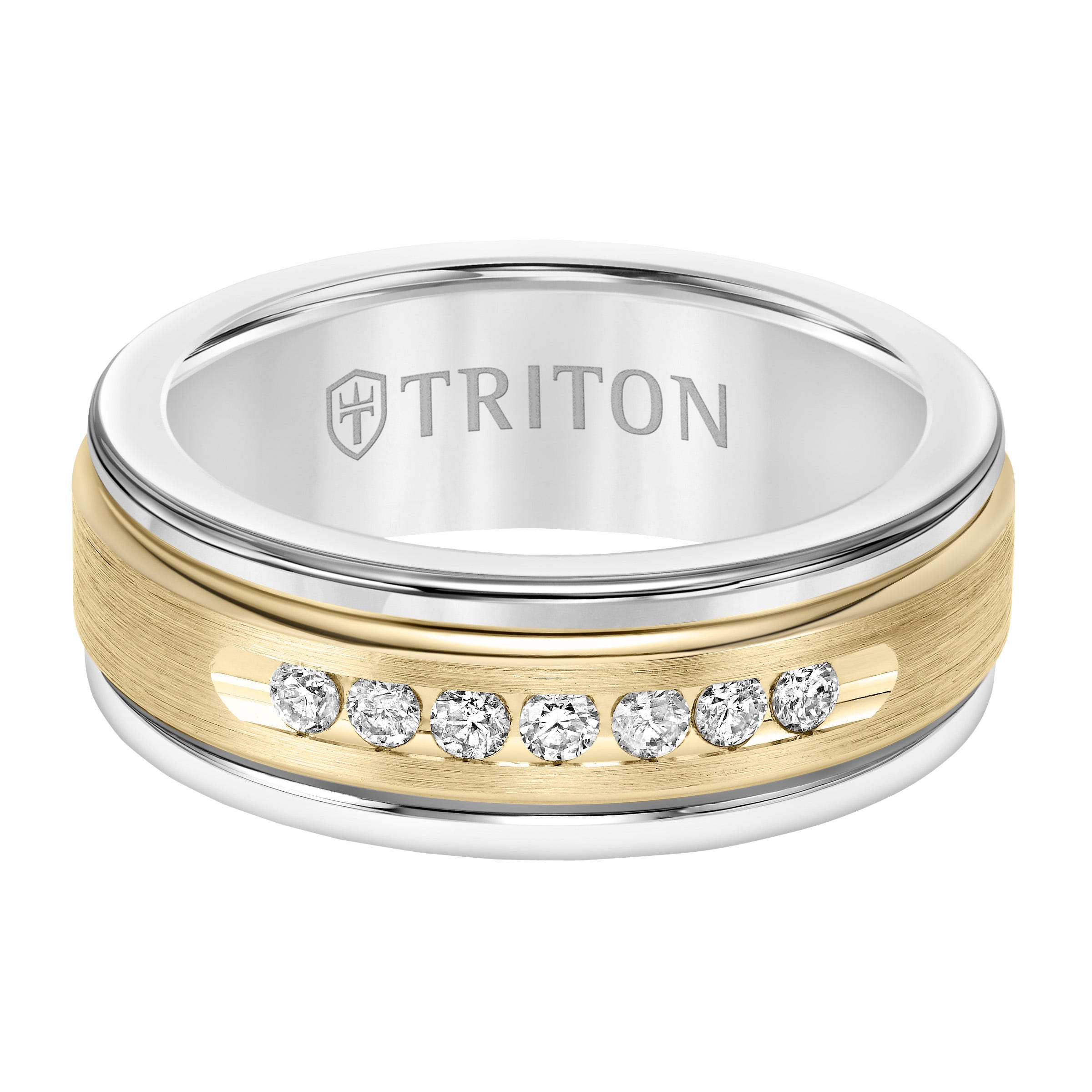 Triton Men's 8mm White Tungsten Carbide and Diamond Wedding Band with 14k Yellow Gold Center