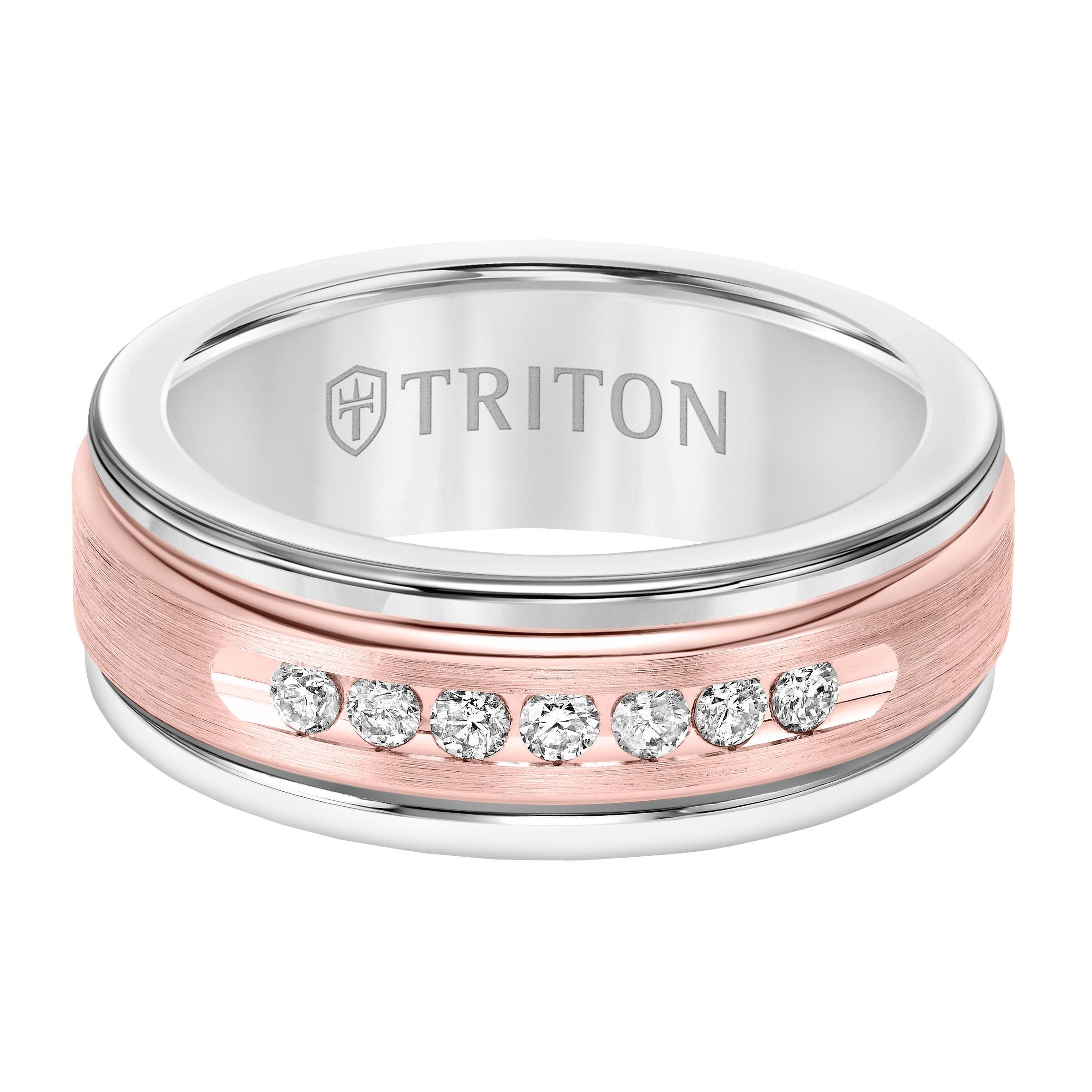 Triton Men's 8mm White Tungsten Carbide and Diamond Wedding Band with 14k Rose Gold Center