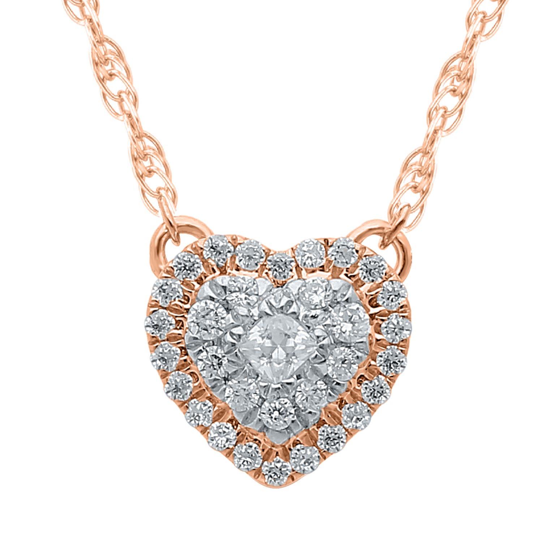 Diamond Cluster Heart Pendant 1/7ctw in 10K Rose Gold