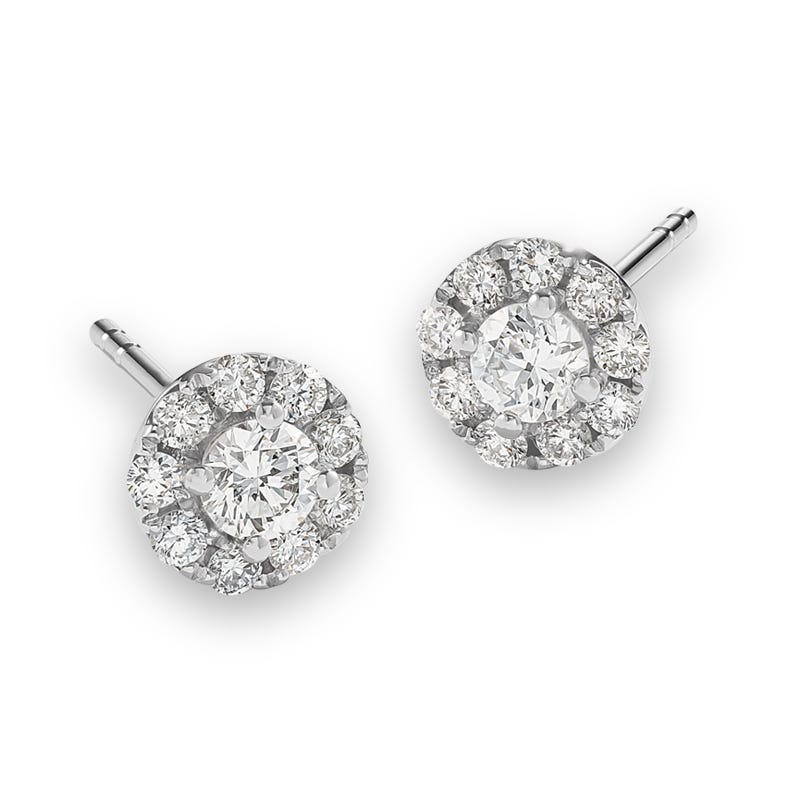 Lab Crafted 1/2ct. Diamond Single Halo Earrings in 14k White Gold