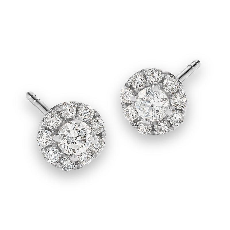 Lab Grown 1ct. Diamond Single Halo Stud Earrings in 14k White Gold