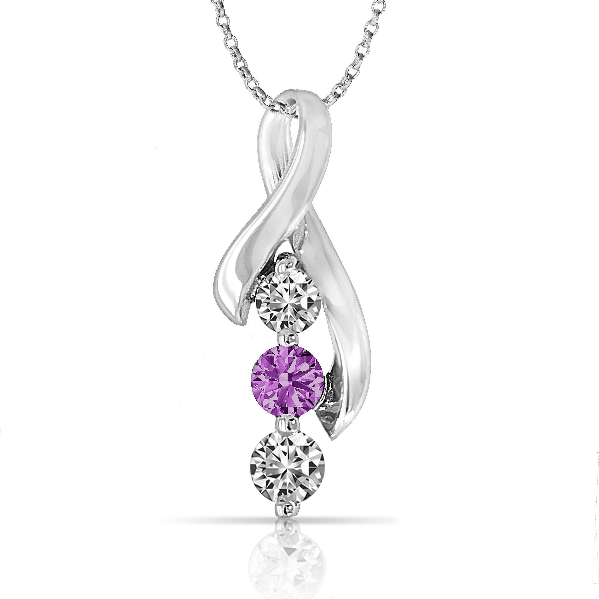Survivor Collection Purple Jen Ribbon 3-Stone Topaz Pendant