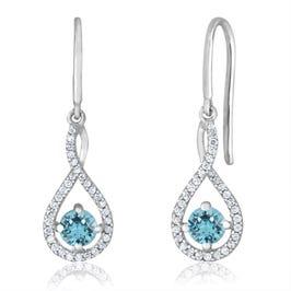 Aquamarine Twist Dangle Infinity Diamond Earrings in Sterling Silver