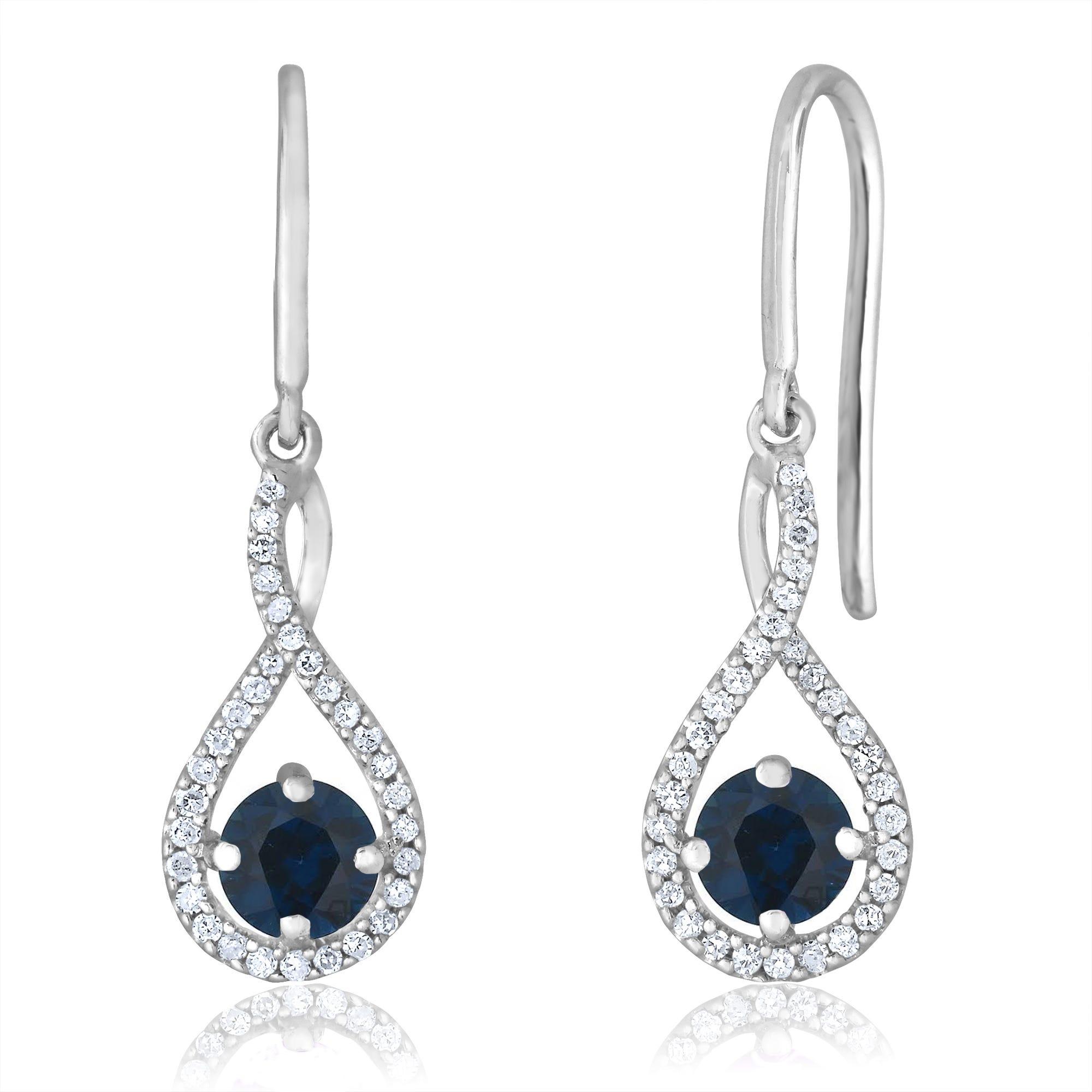 Sapphire Twist Dangle Infinity Diamond Earrings in Sterling Silver