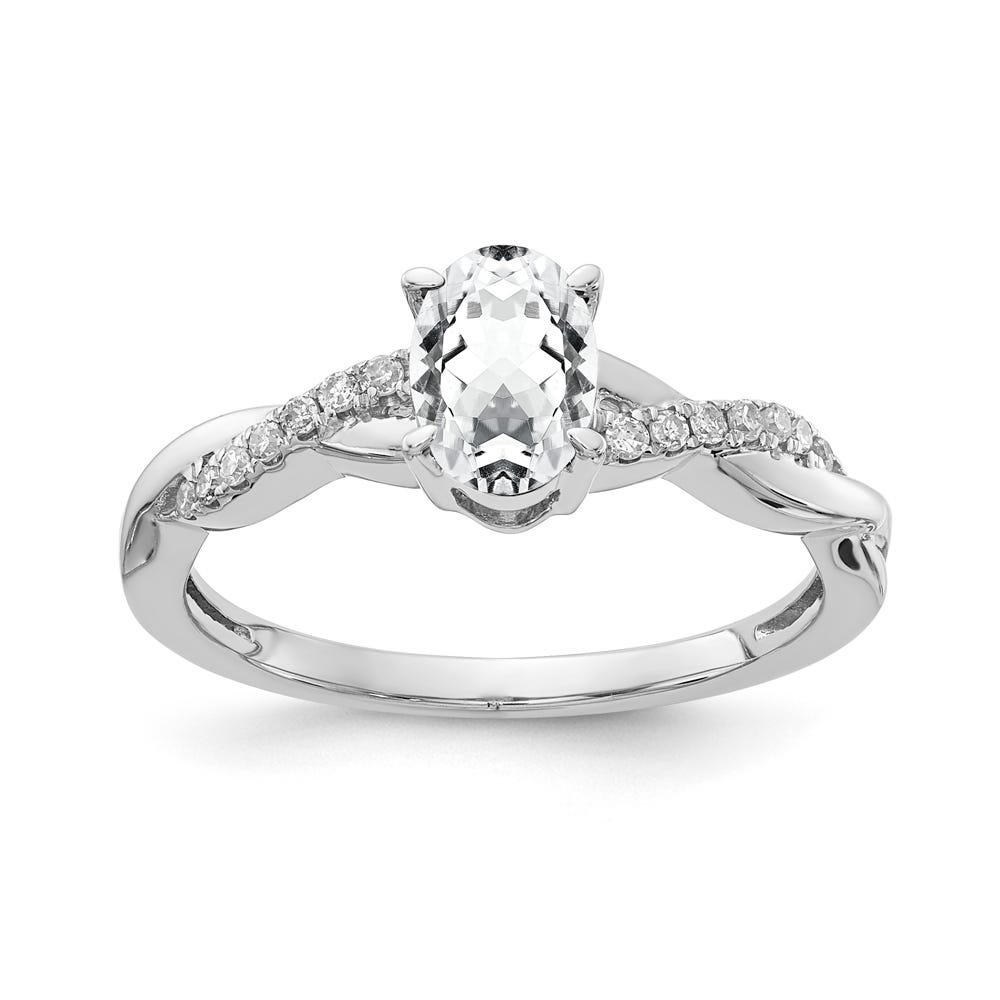 Created White Sapphire & Diamond Oval Twist Ring in 10k White Gold