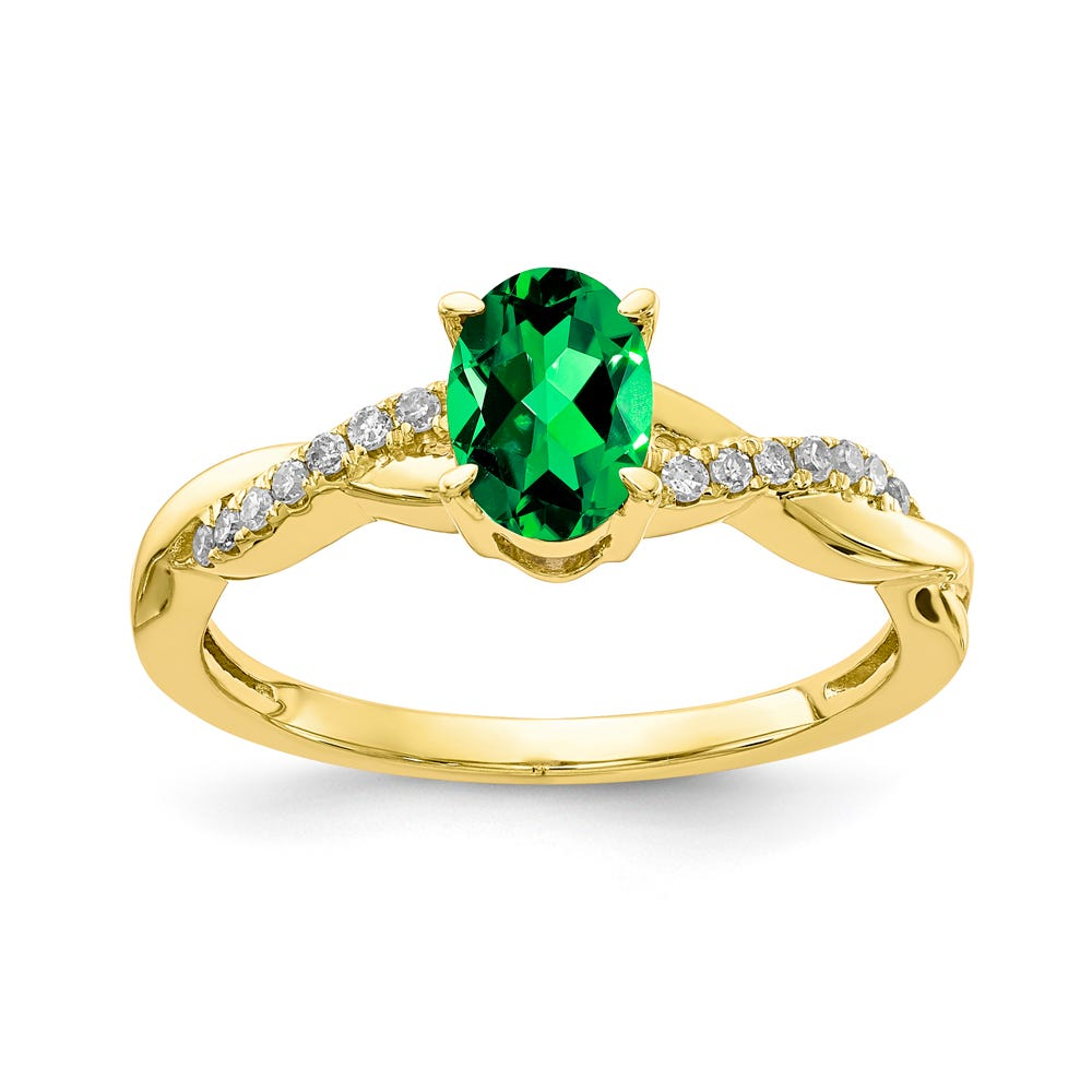 Emerald & Diamond Oval Twist Ring in 10k Yellow Gold