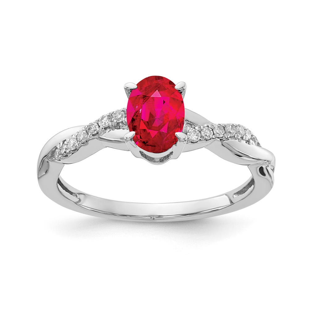 Ruby & Diamond Oval Twist Ring in 10k White Gold