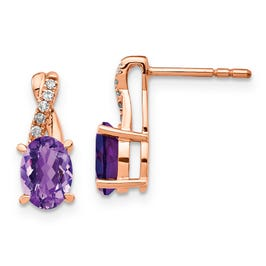 Oval Amethyst and Diamond Twist Earrings in 10k Rose Gold