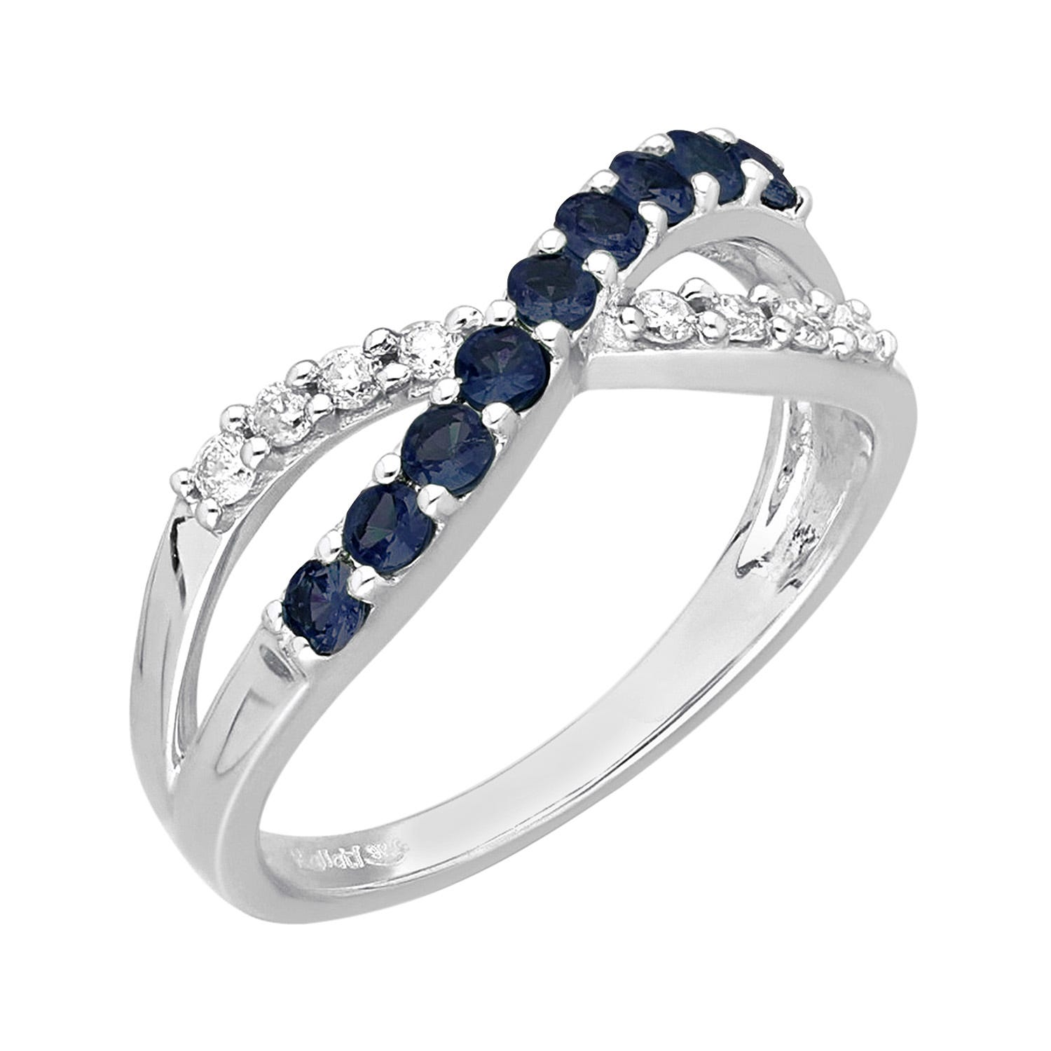 Criss-Cross Sapphire and Diamond Ring 1/6ctw in 14k White Gold