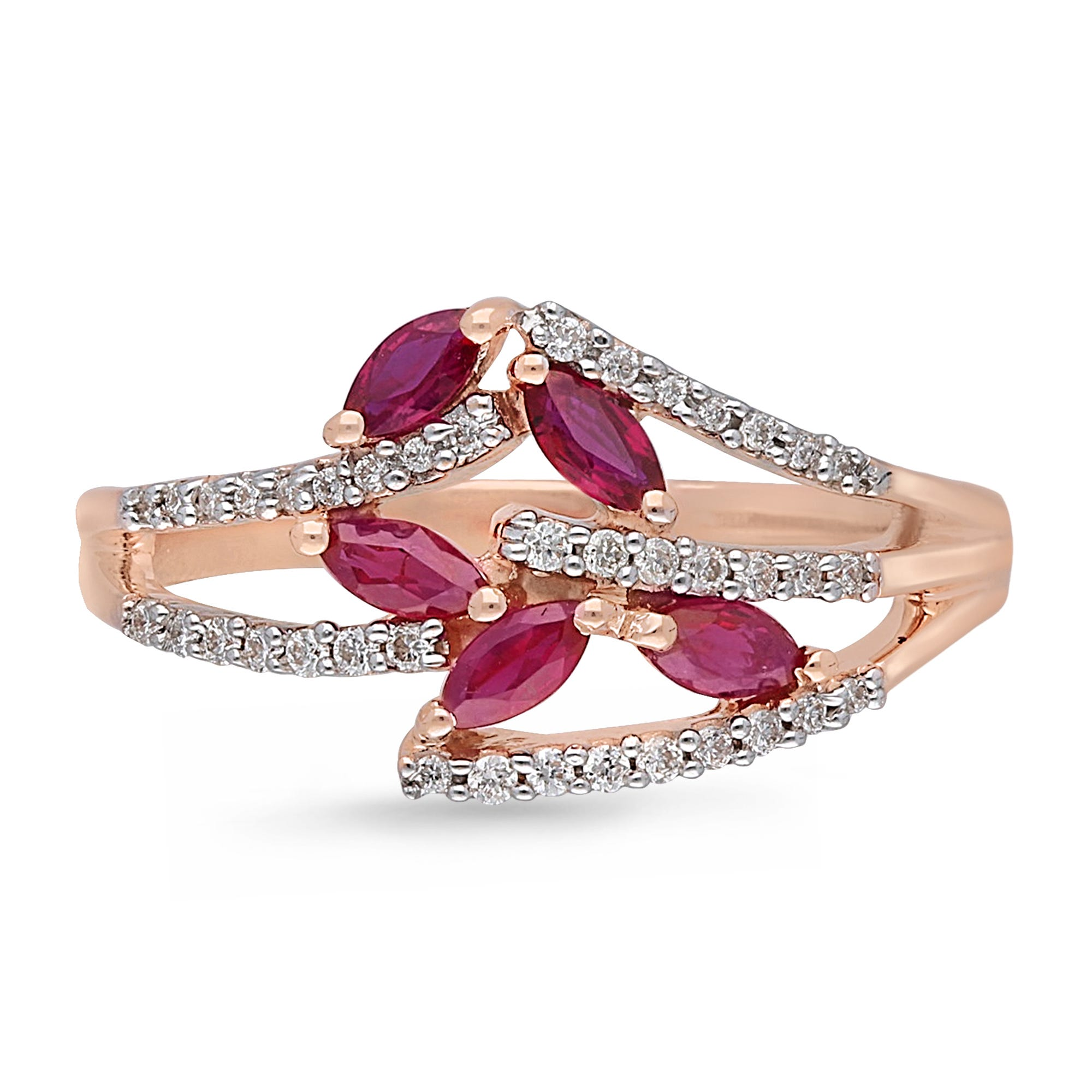 Marquise Ruby and Diamond Ring 1/6ctw in 14k Rose Gold