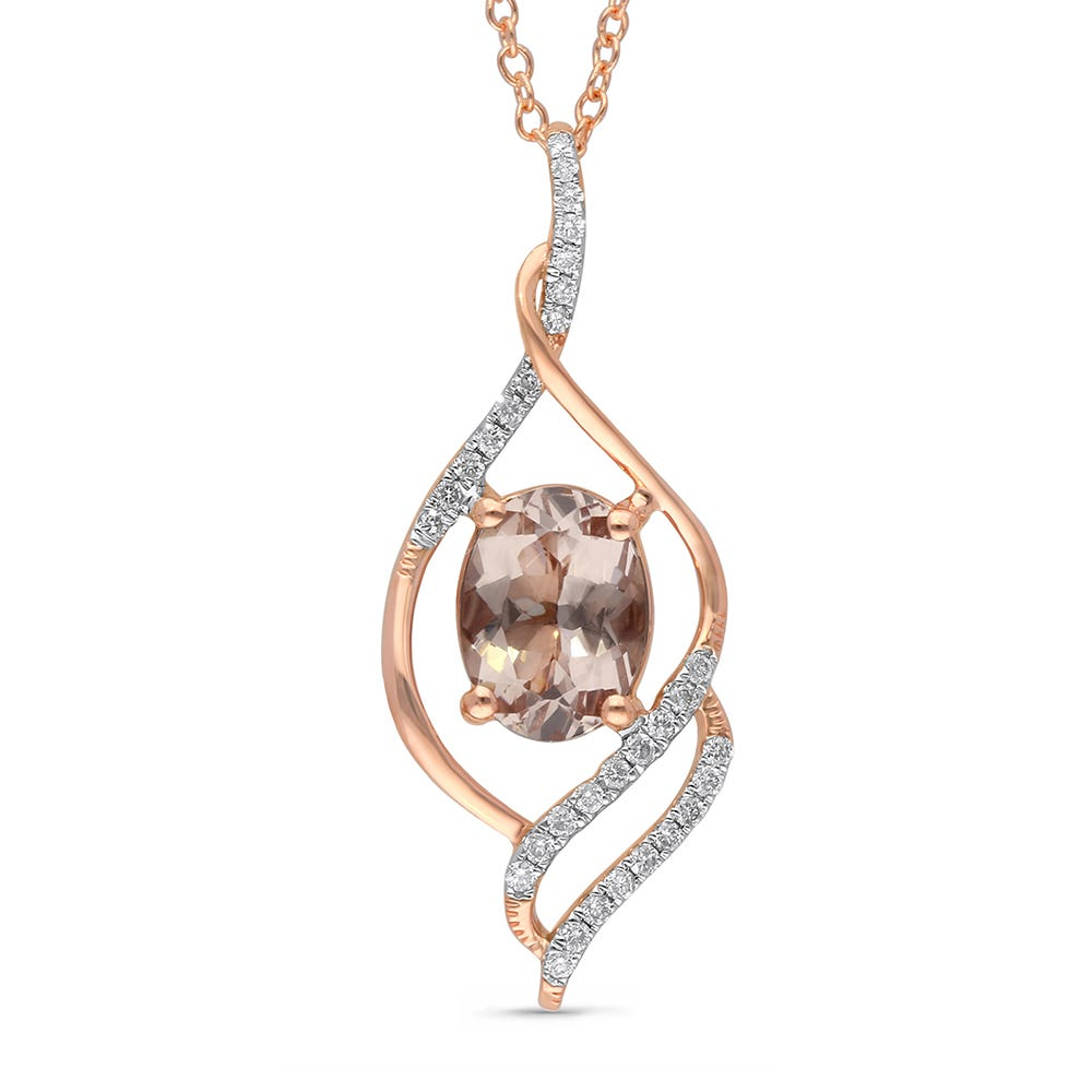 Oval Morganite and Diamond Pendant 1/8ctw in 14k Rose Gold