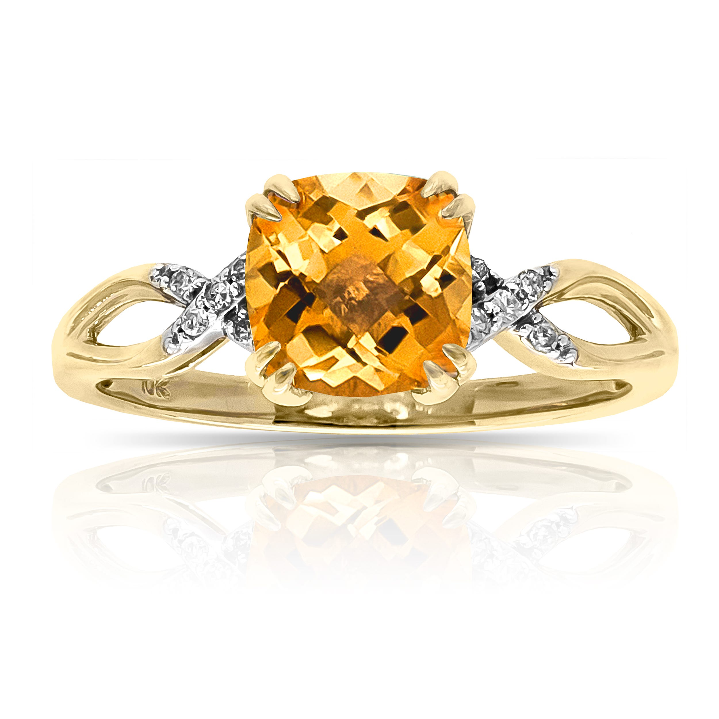 Cushion-Cut Citrine & Diamond Ring in 10k Yellow Gold