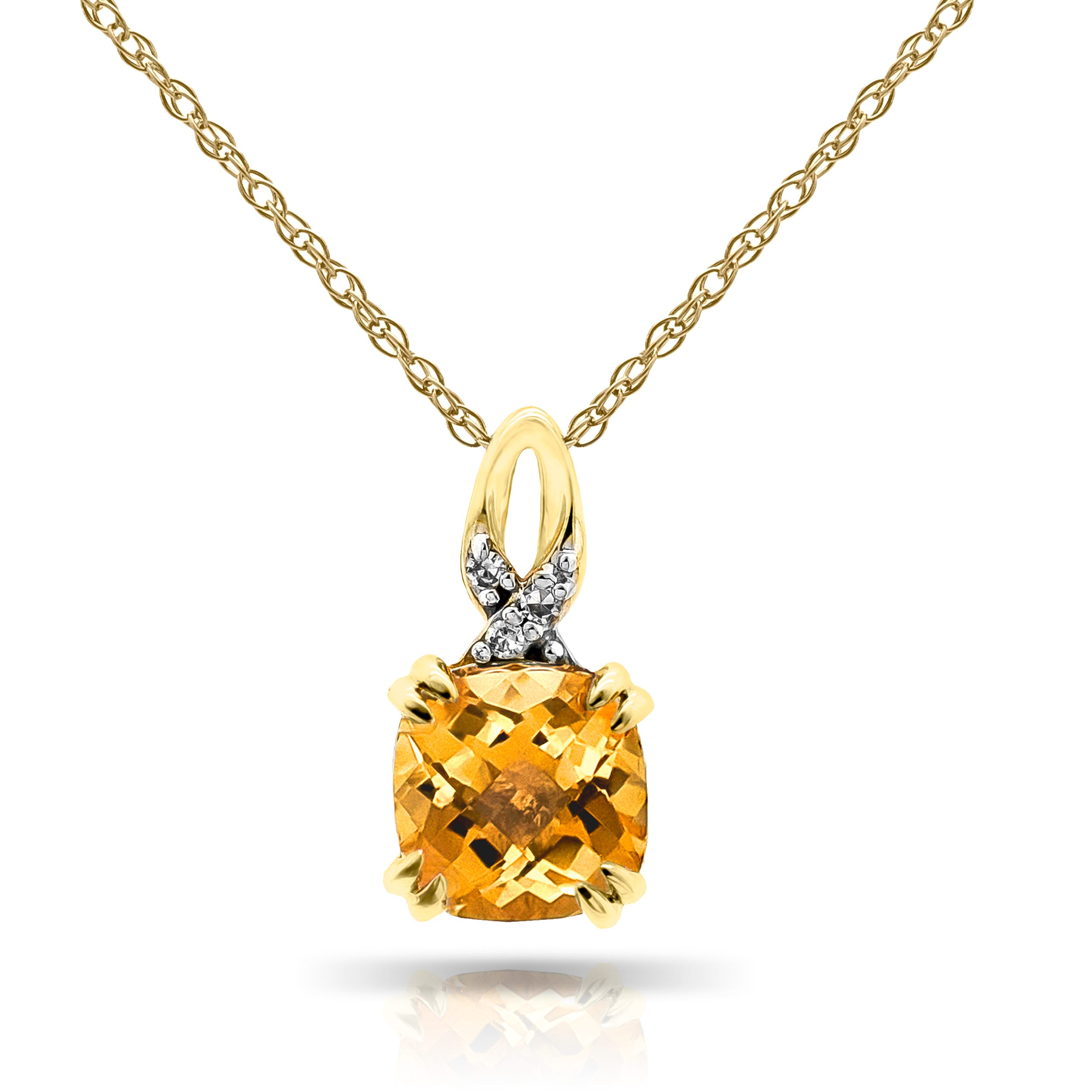 Cushion-Cut Citrine & Diamond Pendant in 10k Yellow Gold