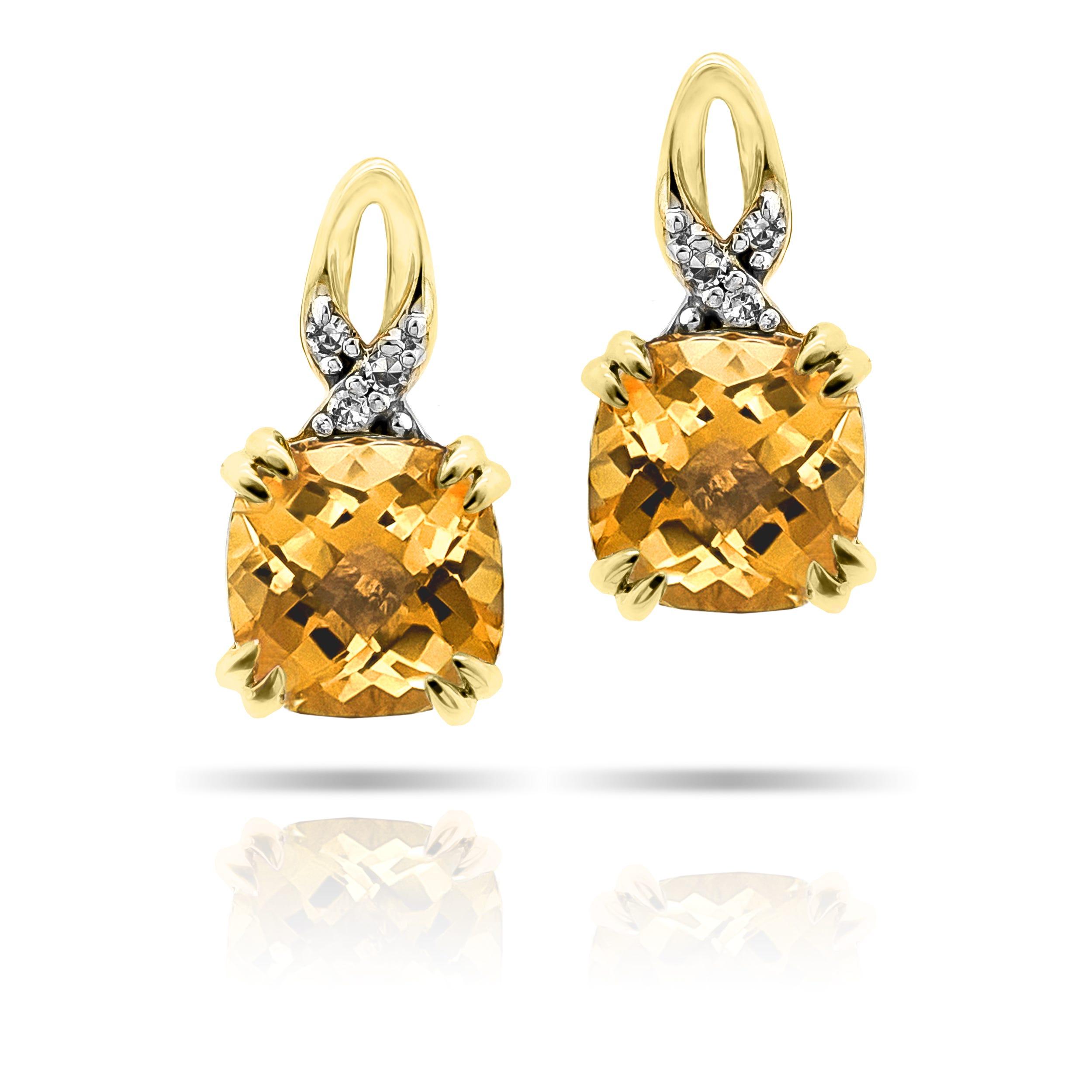 Cushion-Cut Citrine & Diamond Drop Earrings in 10k Yellow Gold