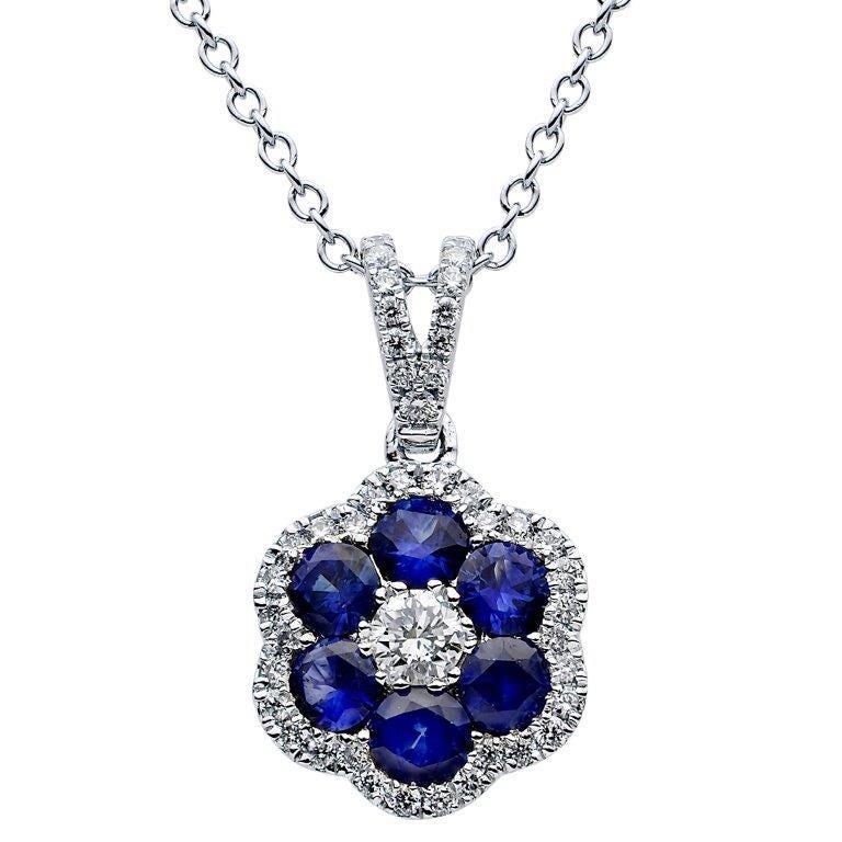 Sapphire & Diamond Halo Pendant in 18k White Gold
