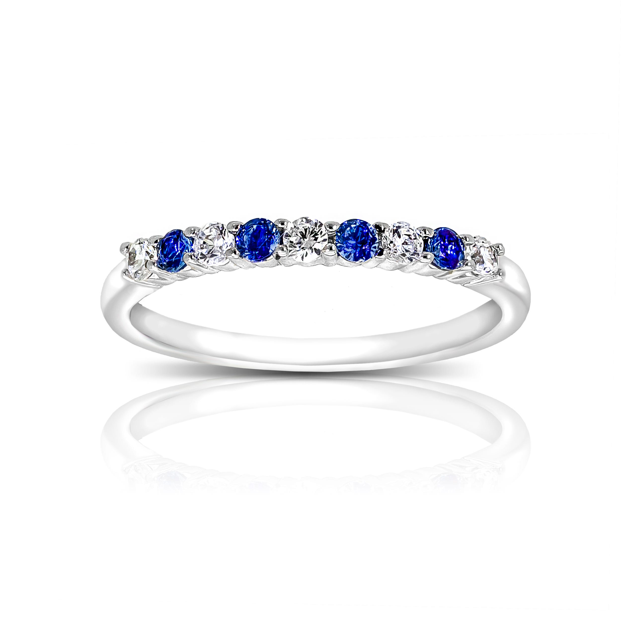 Blue Sapphire and Diamond Gemstone Ring in 10k White Gold