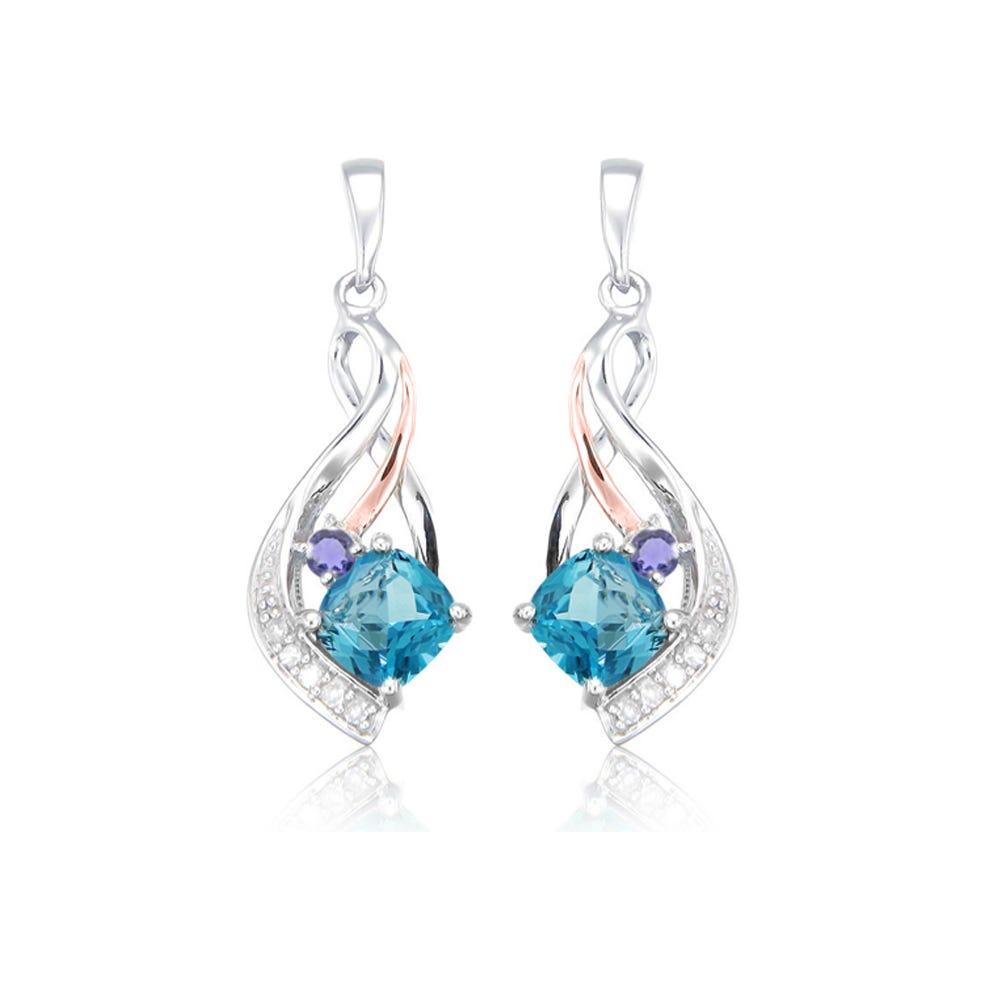 Cushion-Cut Blue Topaz & Iolite Birthstone Earrings in Sterling Silver