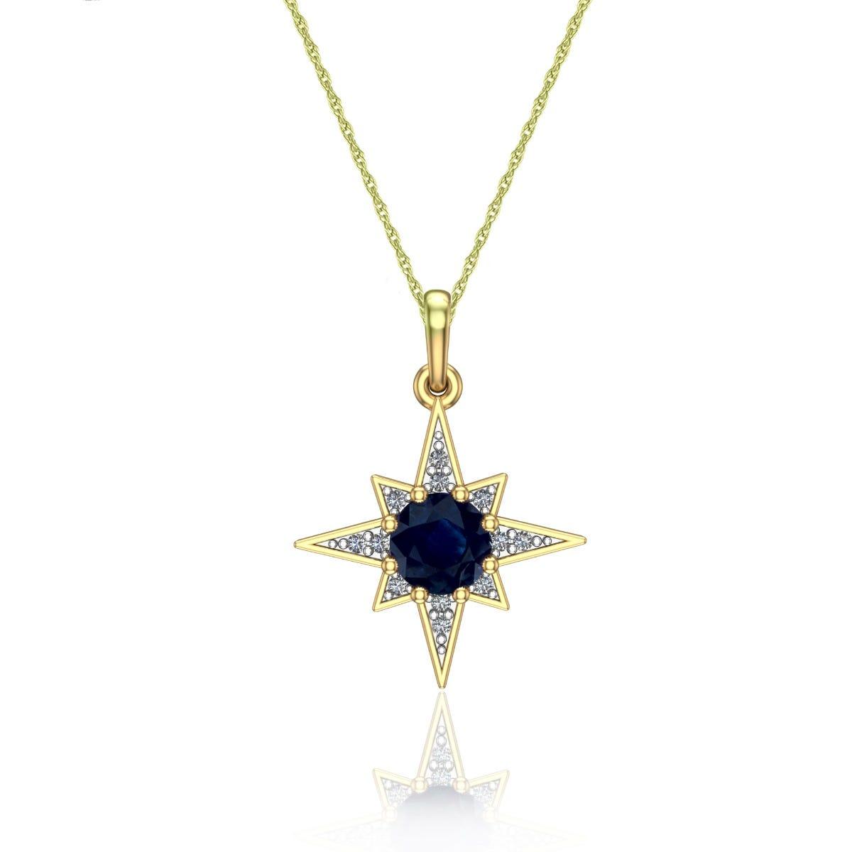 Brilliant-Cut Sapphire & Diamond Star Pendant in 10k Yellow Gold