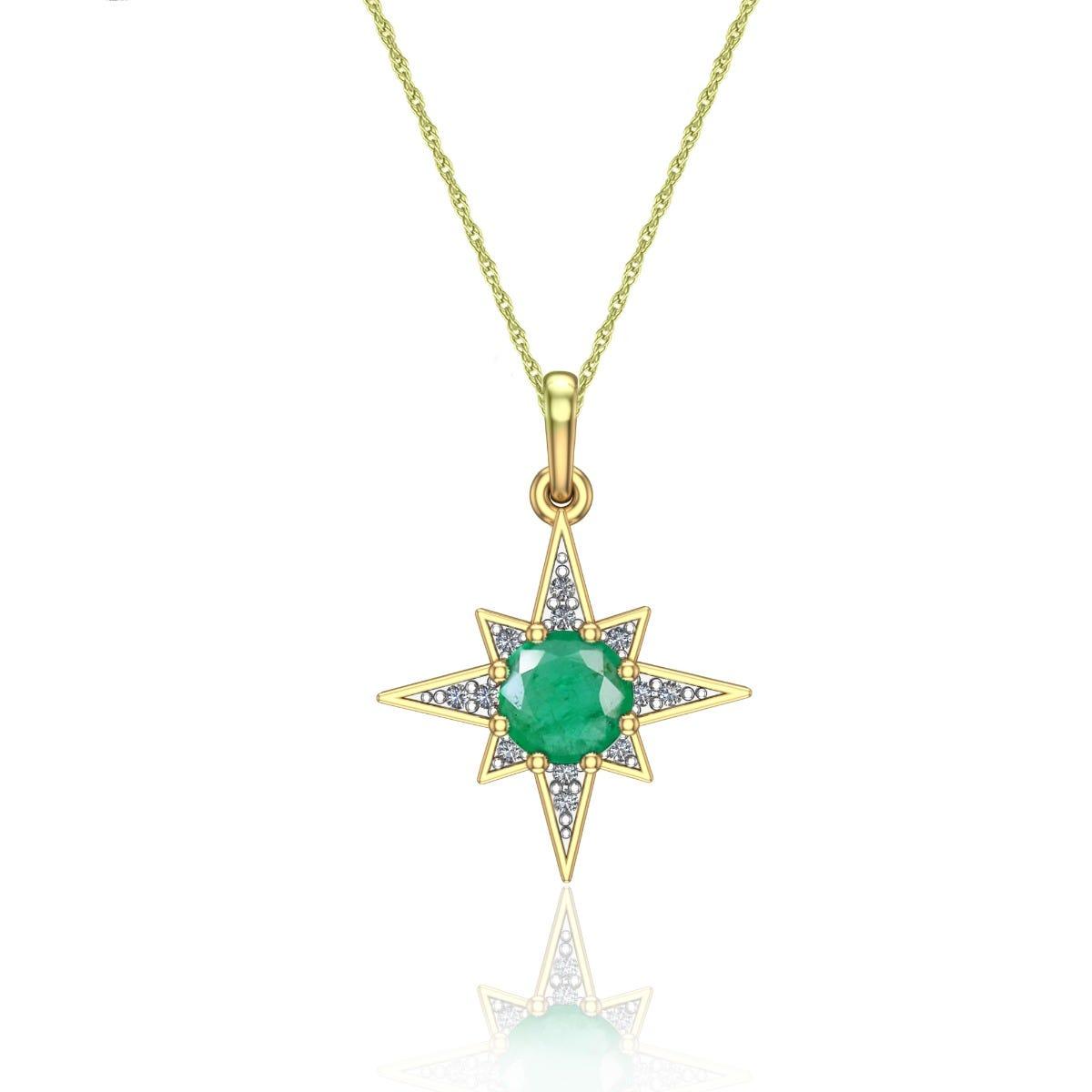 Round-Cut Emerald & Diamond Pendant in 10k Yellow Gold