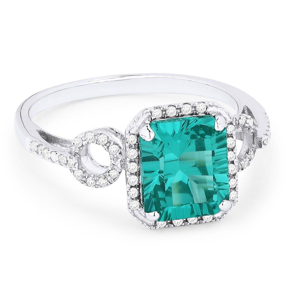 Fiji Blue Created Emerald-Cut Spinel & Diamond Ring in 14k White Gold