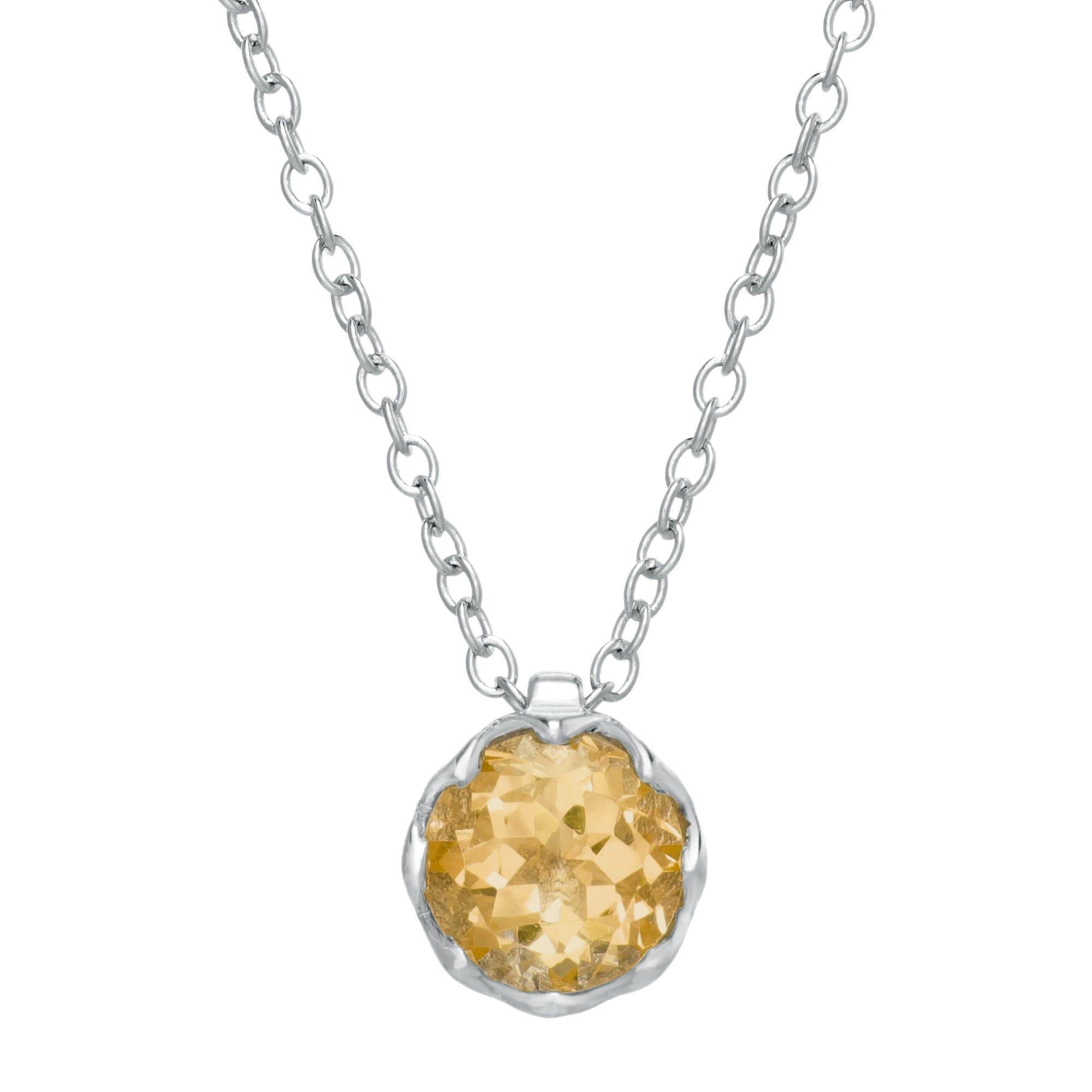 Round Citrine Gemstone Pendant in Sterling Silver