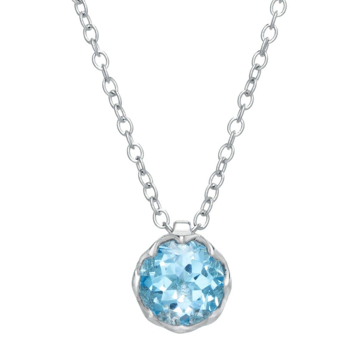 Round Blue Topaz Gemstone Pendant in Sterling Silver