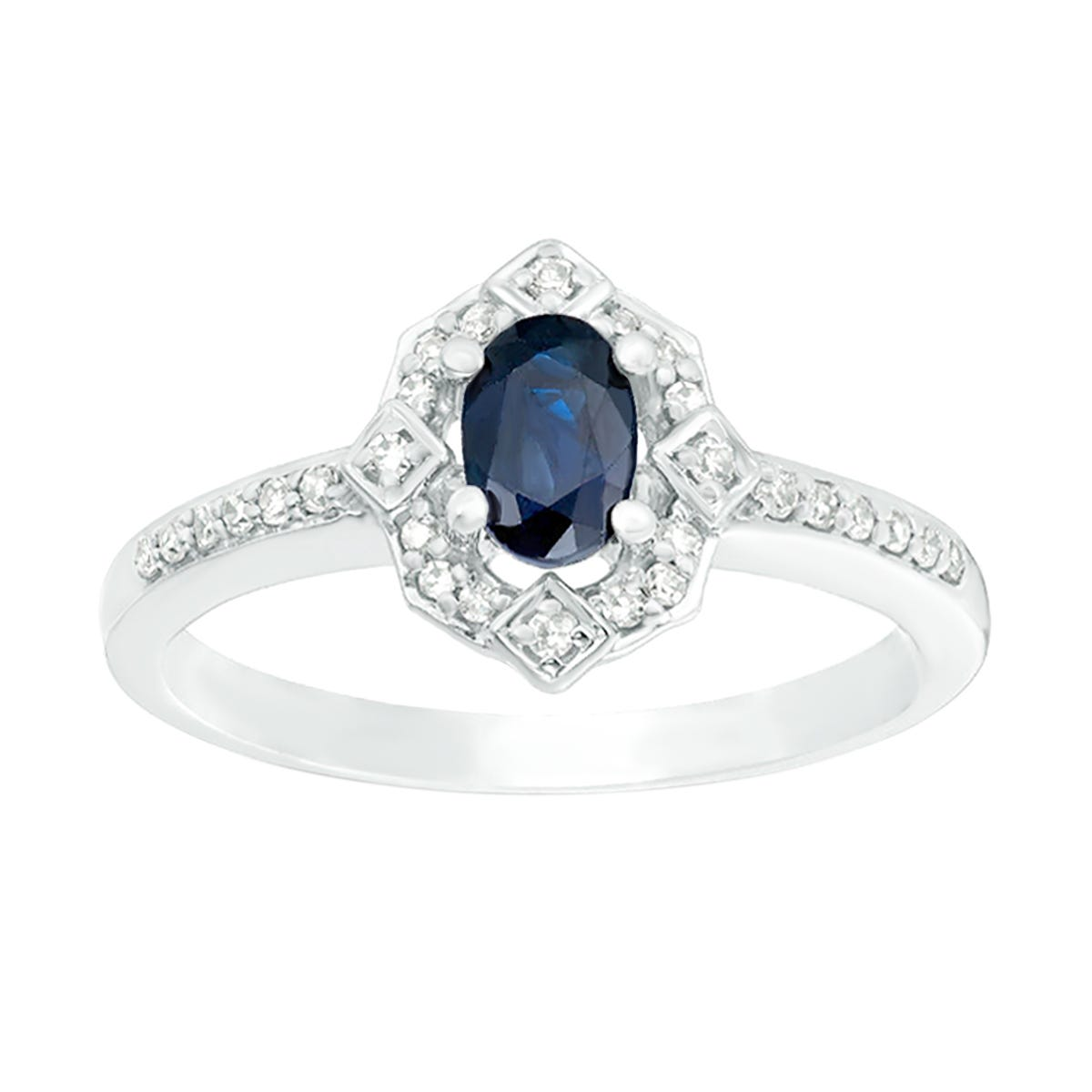 Oval Sapphire and Diamond Ring 1/8ctw in 10k White Gold