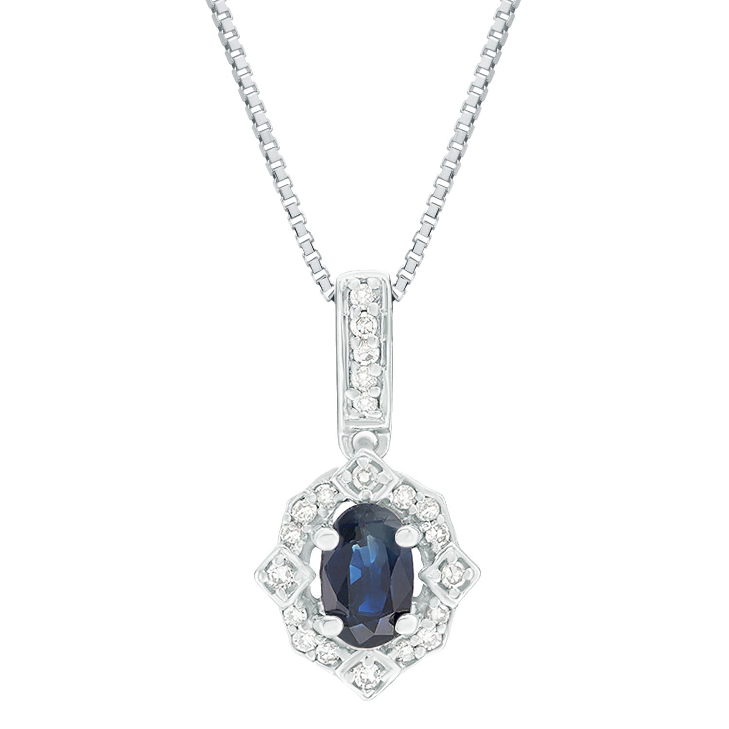 Oval Sapphire and Diamond Pendant in 10k White Gold