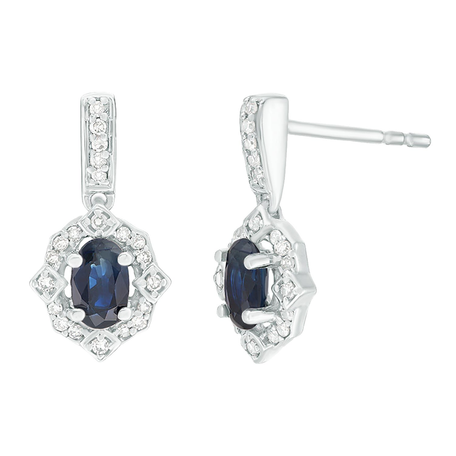 Oval Sapphire & Diamond Earrings in 10k White Gold