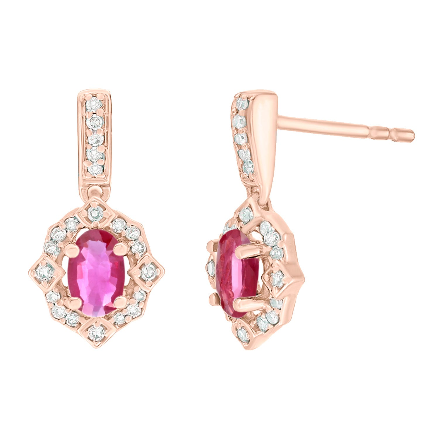 Oval Ruby and Diamond Earrings 1/8ctw in 10k Rose Gold