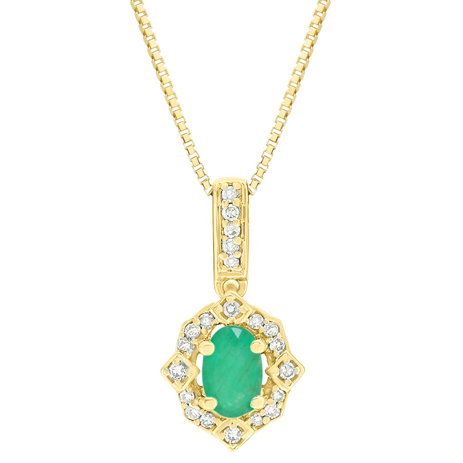 Oval Emerald and Diamond Pendant in 10k Yellow Gold