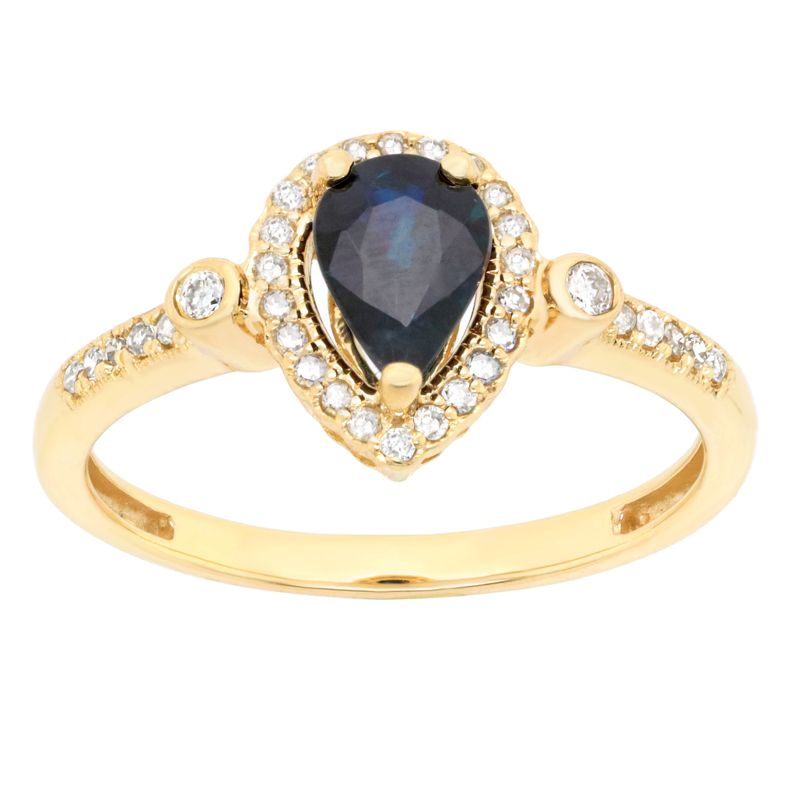 Pear Shape Sapphire and Diamond Ring 1/6ctw in 10k Yellow Gold