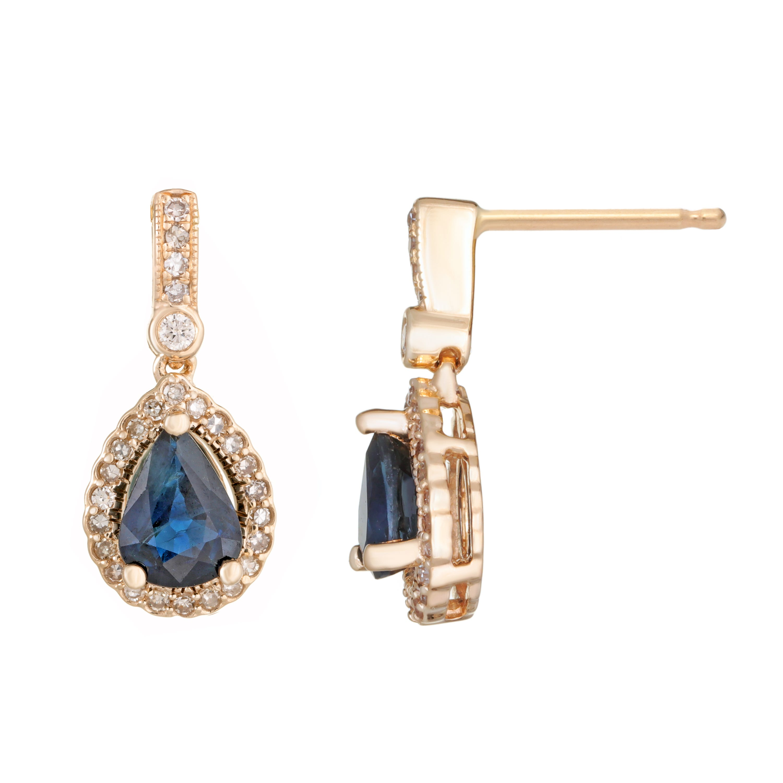 Pear Shape Sapphire & Diamond Drop Earrings in 10k Yellow Gold